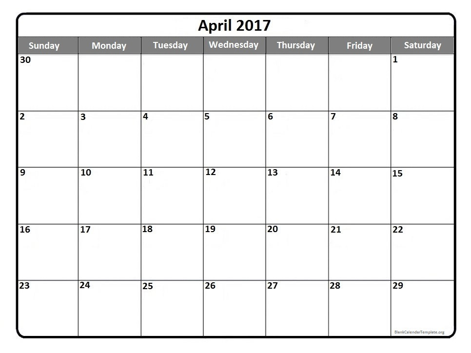 Free April 2017 Calendar Printable Templates – Webelations