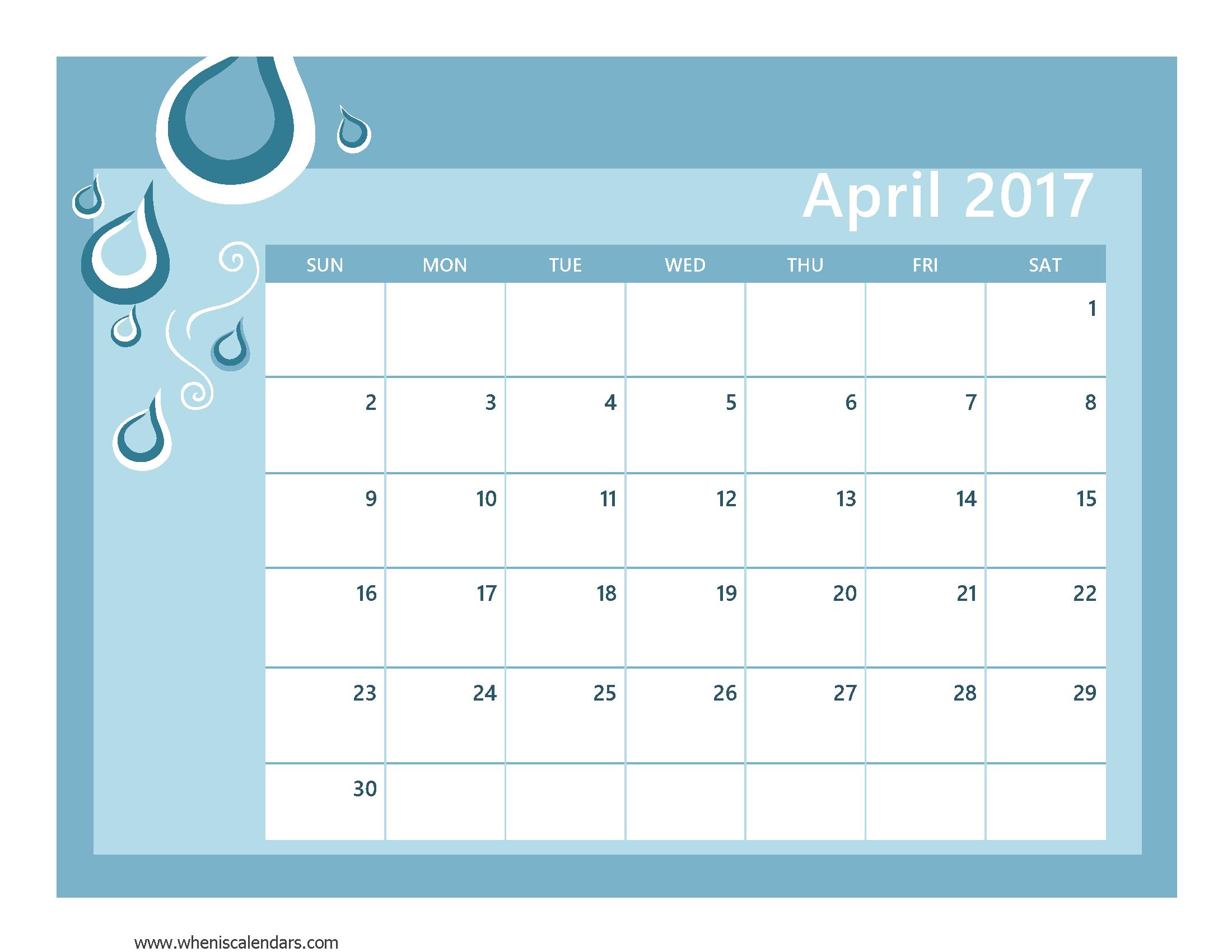 April 2017 Calendar With US Holidays