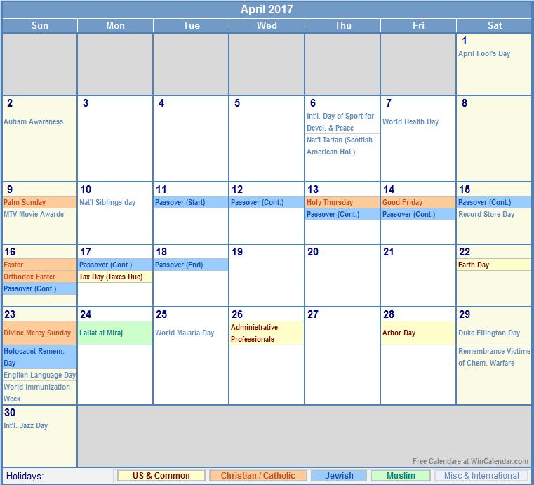 April 2017 Calendar With Holidays | blank calendar printable