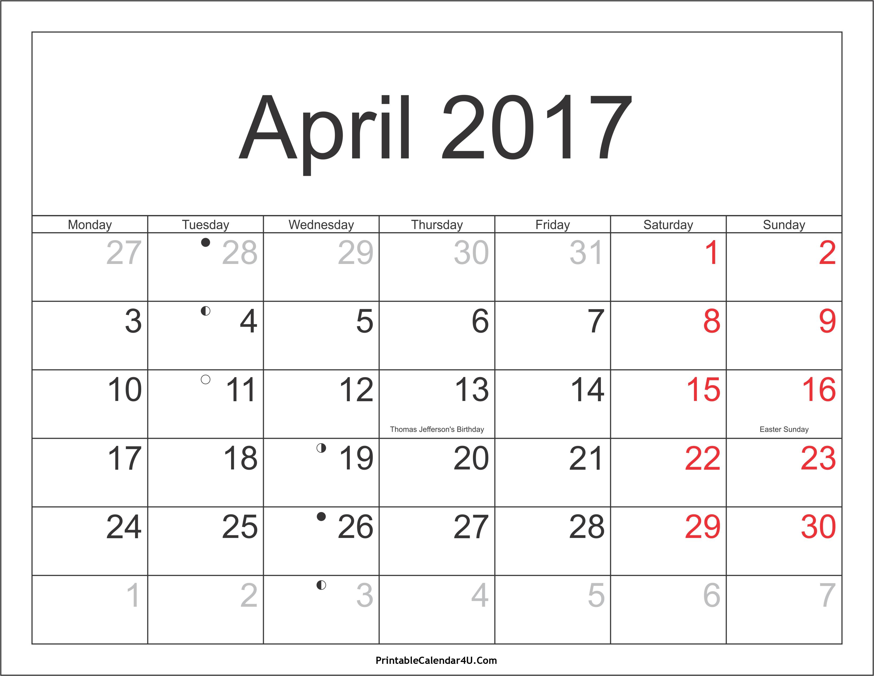 April 2017 Calendar With Holidays | weekly calendar template