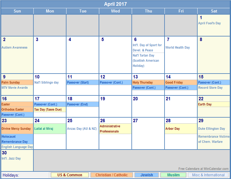 April 2017 Calendar With Holidays | printable calendar templates