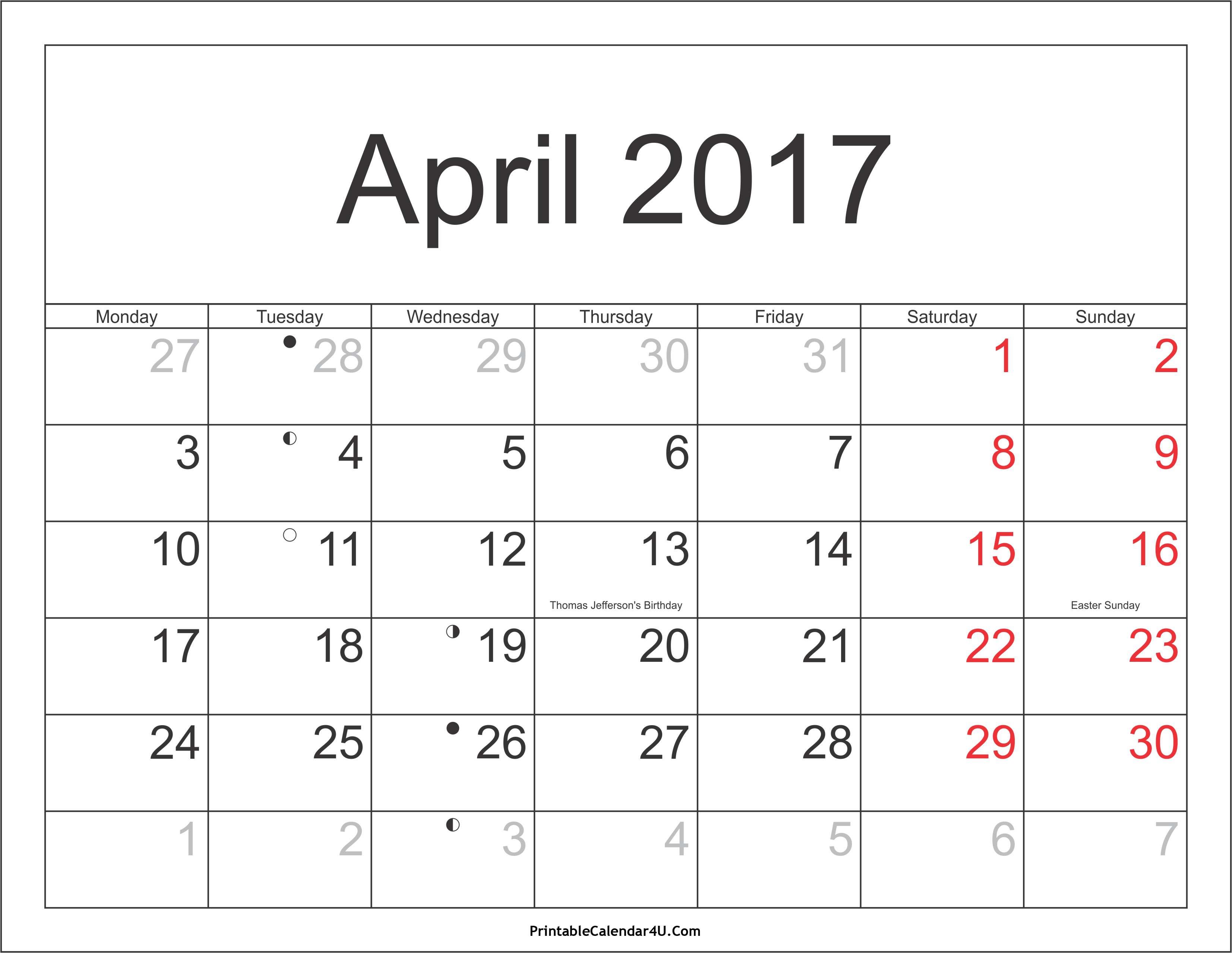 April 2017 Calendar With Holidays | monthly calendar printable