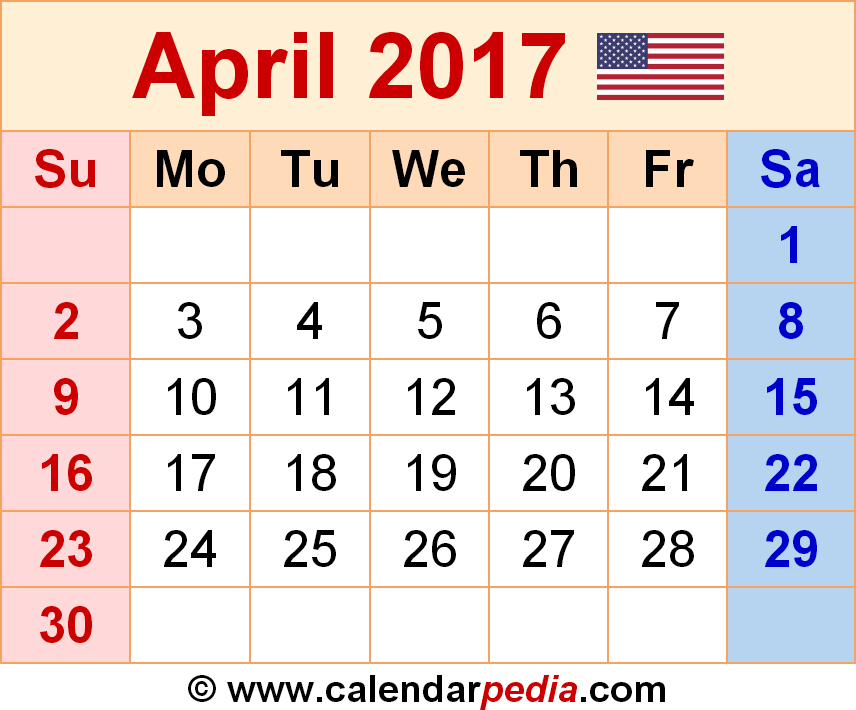 April 2017 Calendar With Holidays Canada | monthly calendar printable
