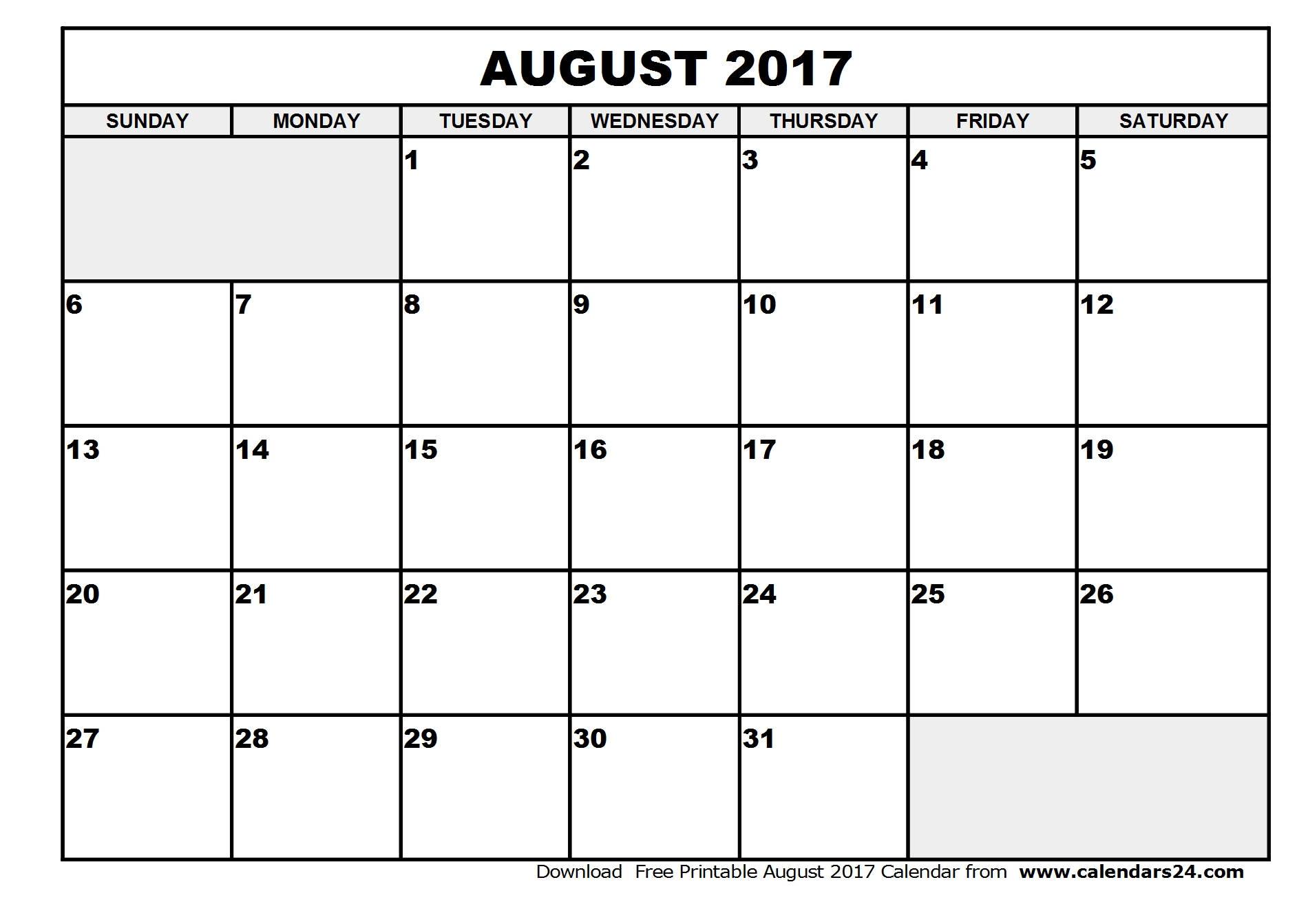 August 2017 Calendar & September 2017 Calendar