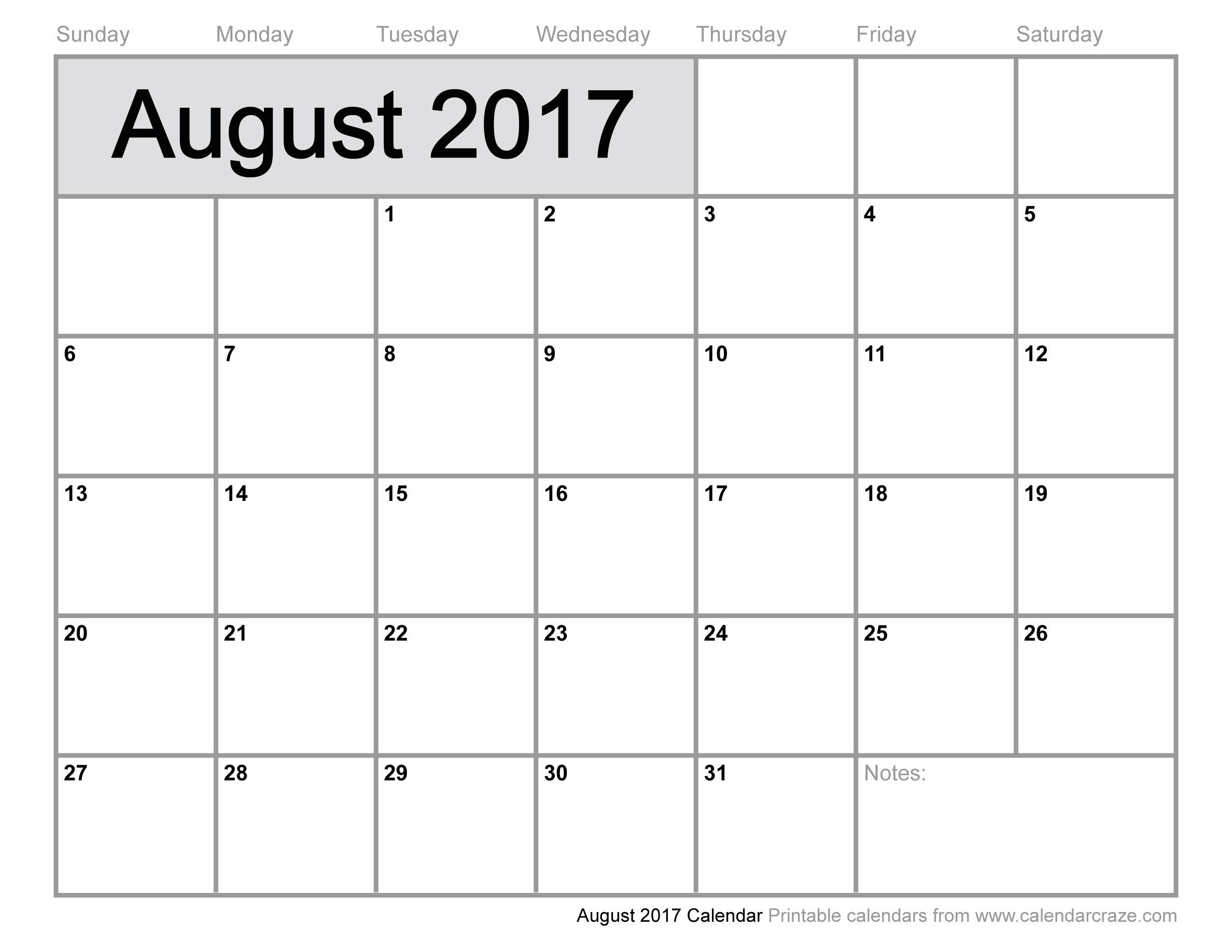 August 2017 Calendar | 2017 calendar with holidays