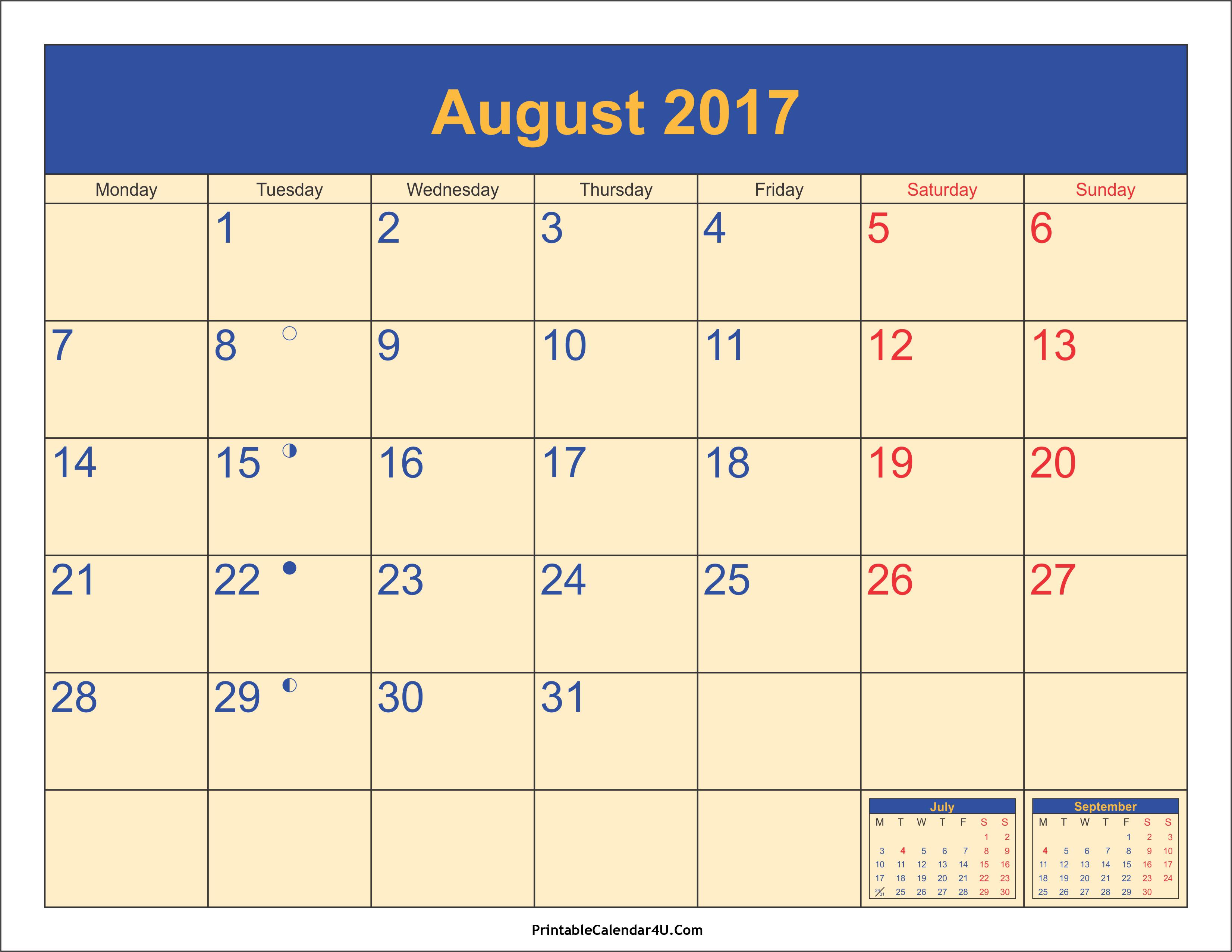 August 2017 Calendar Canada | printable calendar templates