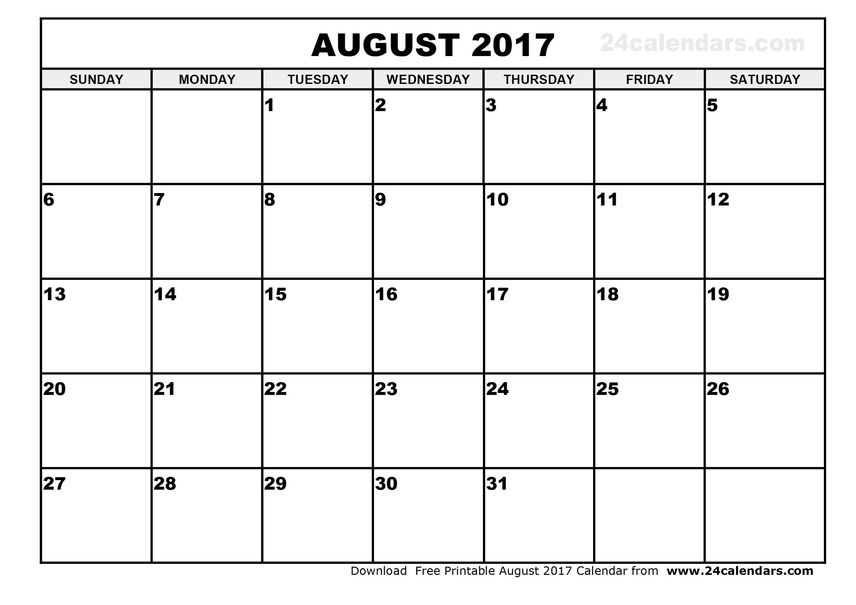 August 2017 Calendar Cute | weekly calendar template