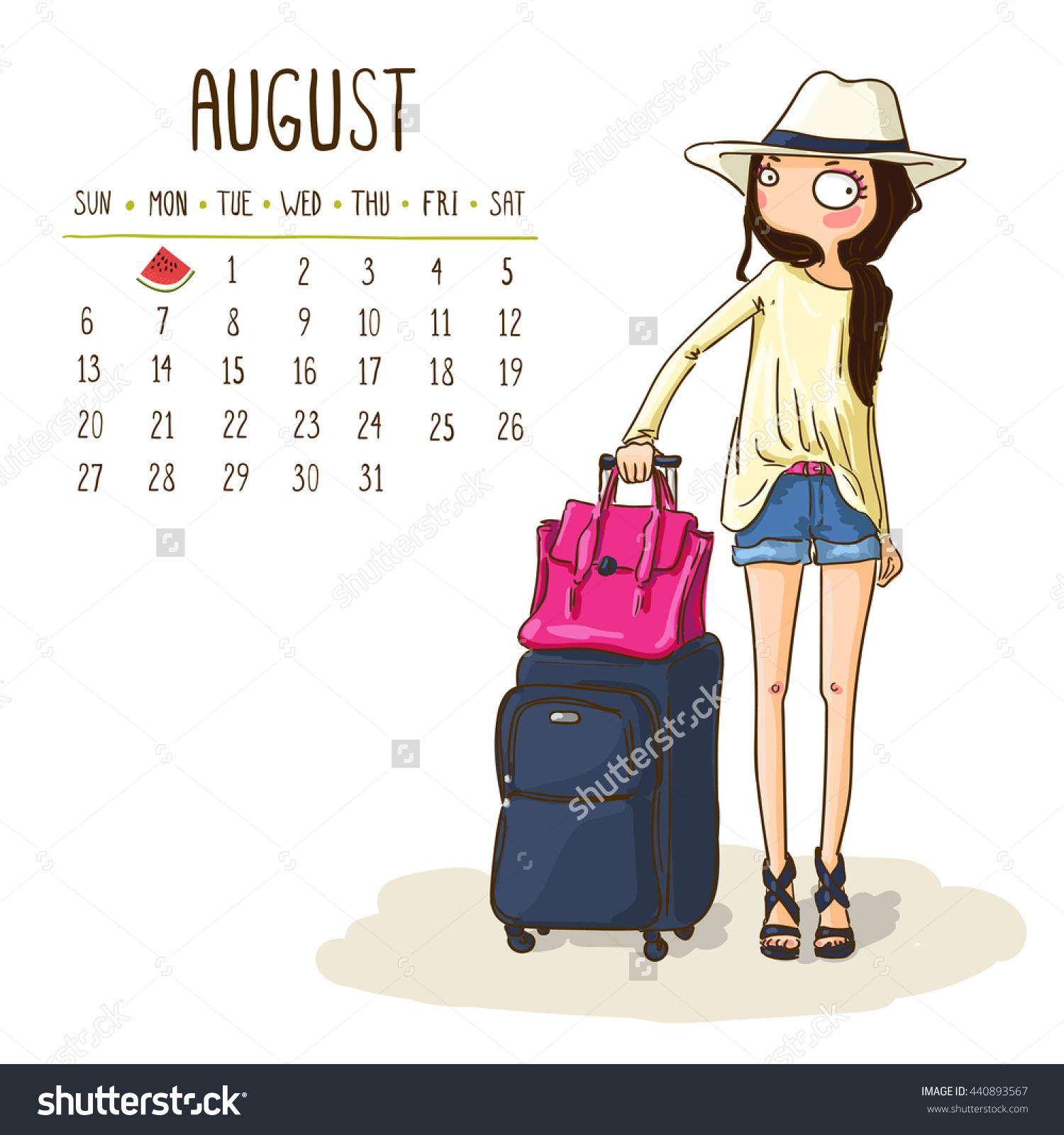 August 2017 Calendar Cute Girl Go Stock Vector 440893567