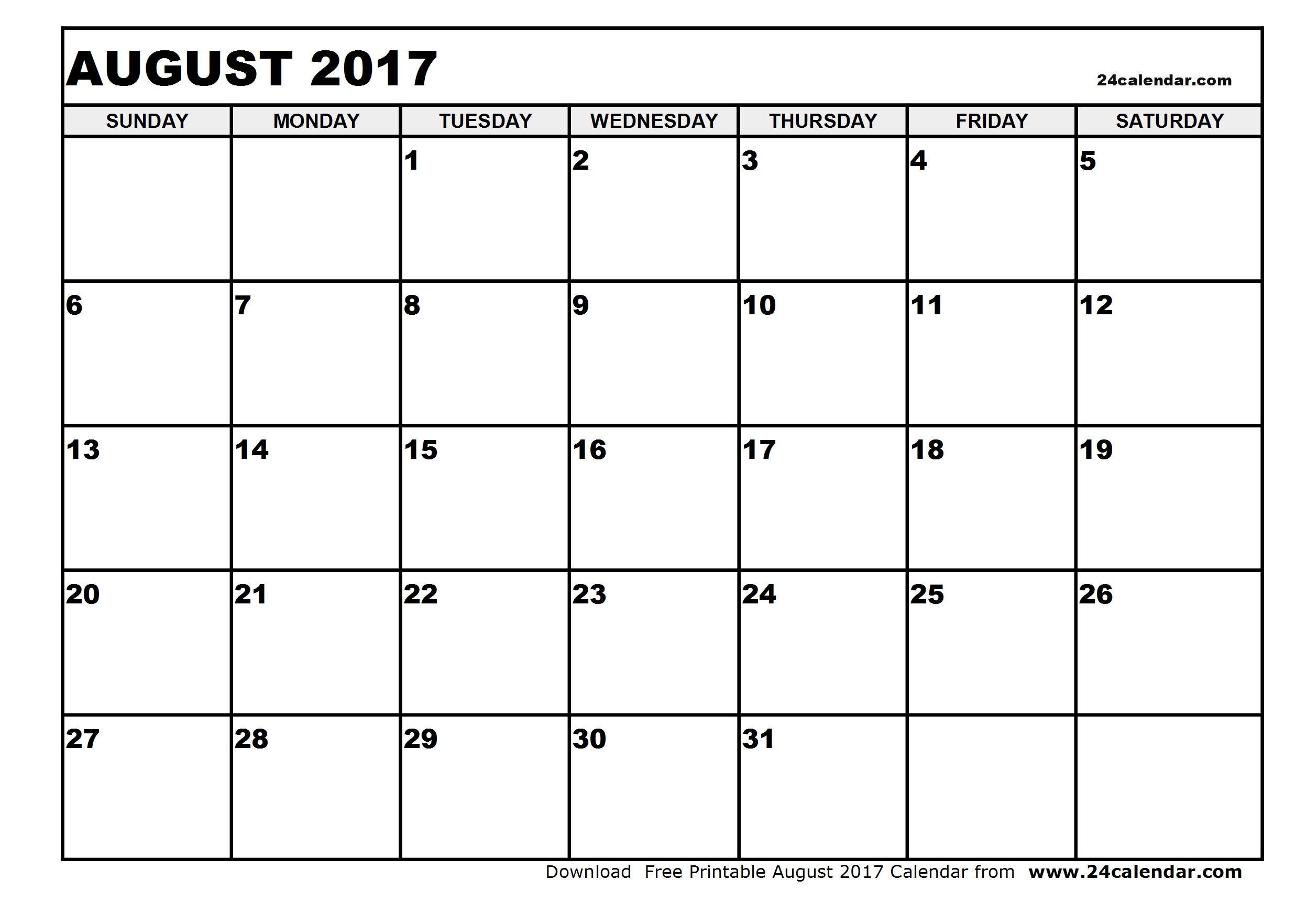 Blank August 2017 Calendar in Printable format.
