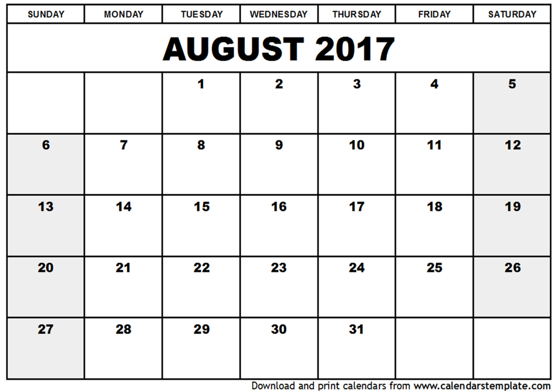 August 2017 Calendar Cute | weekly calendar template