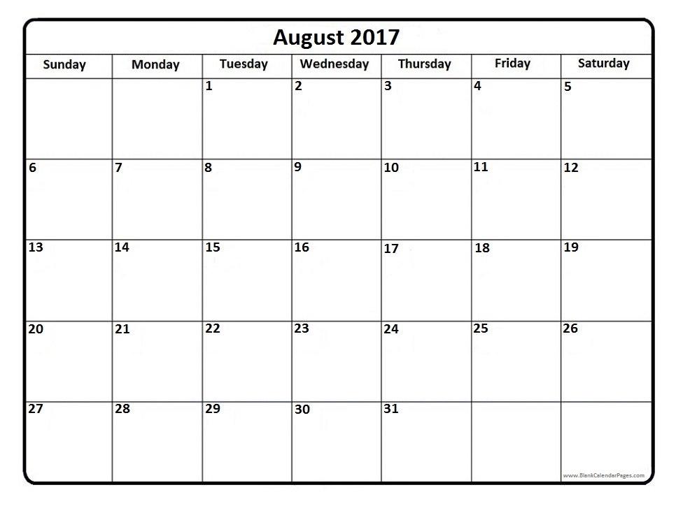 August 2017 Calendar Printable | printable calendar templates