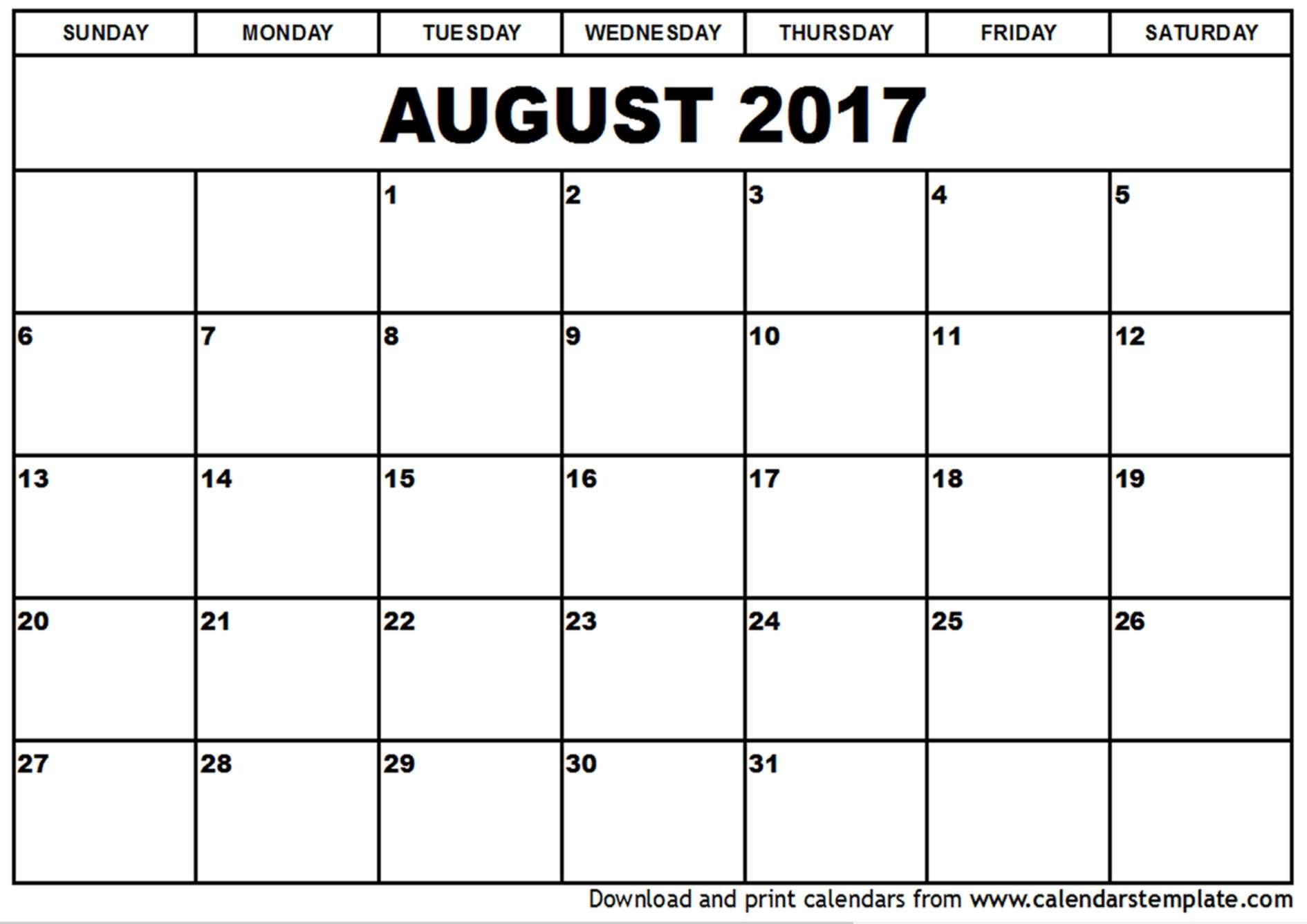 August 2017 Calendar Template