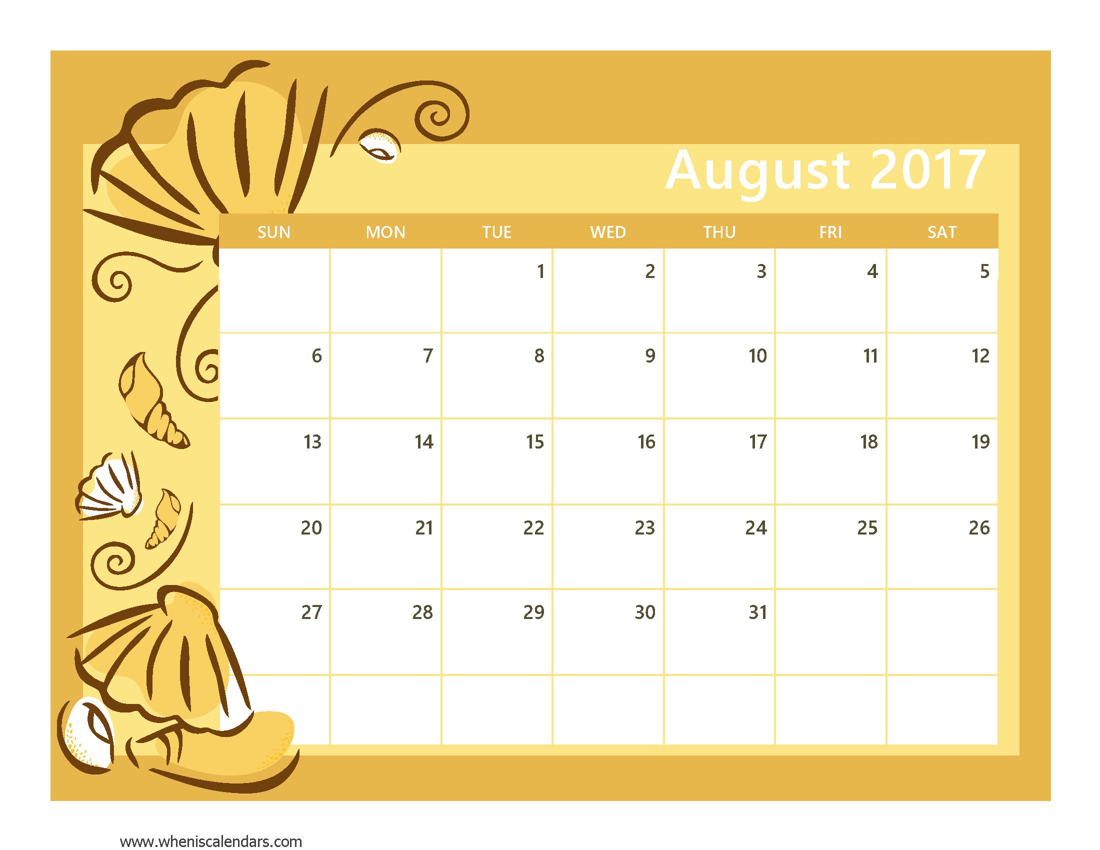 August 2017 Calendar Template | weekly calendar template
