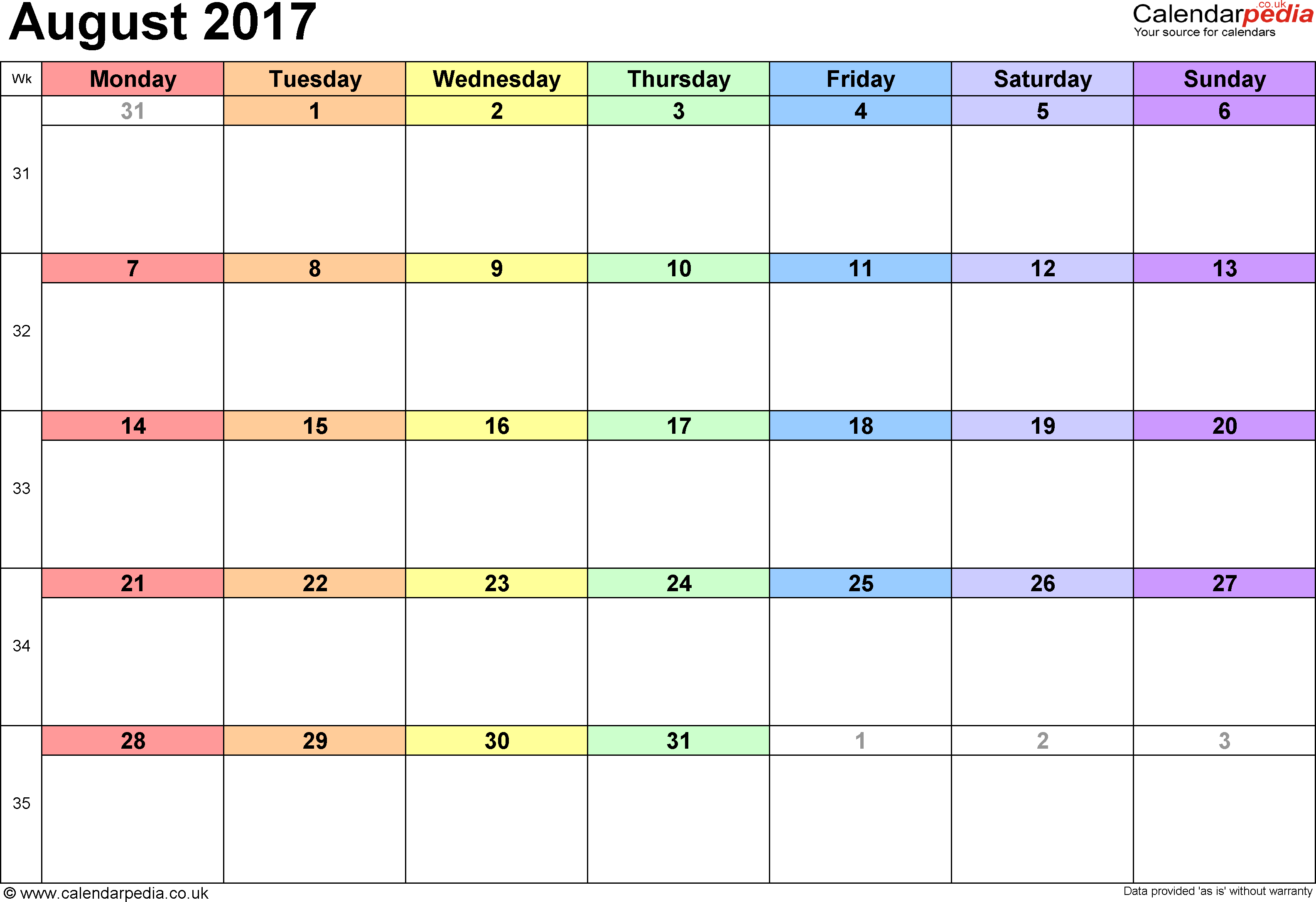 Calendar August 2017 UK, Bank Holidays, Excel/PDF/Word Templates