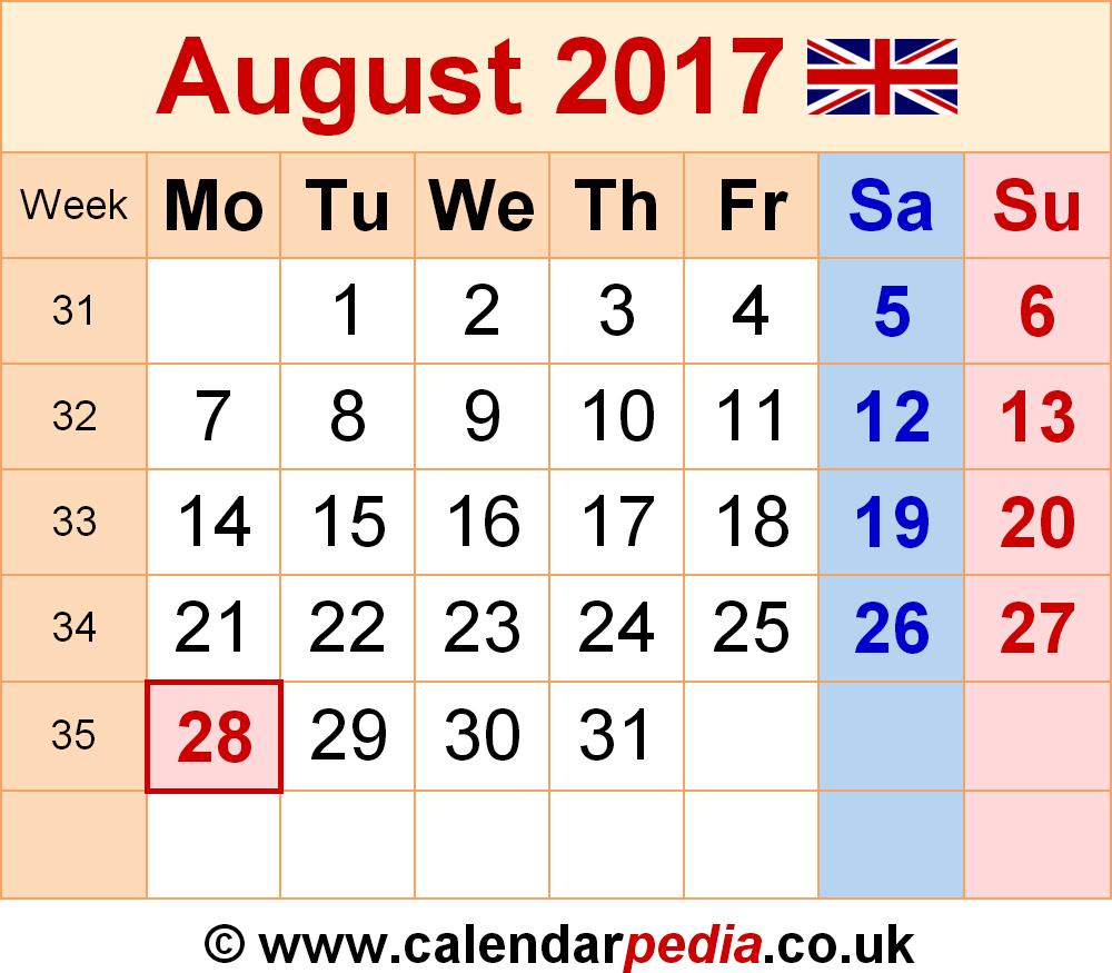 Calendar August 2017 UK, Bank Holidays, Excel/PDF/Word Templates