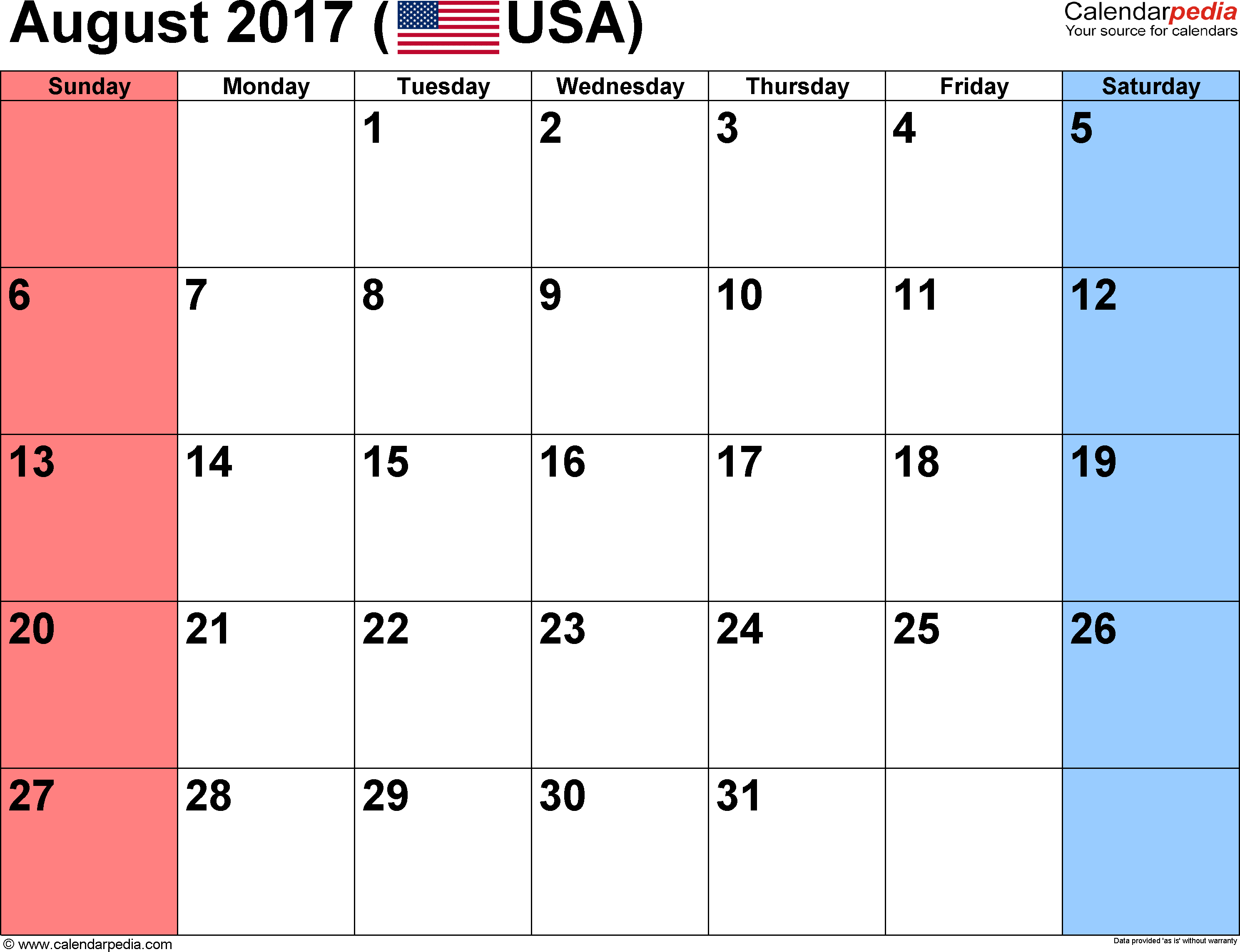 August 2017 Calendar With Holidays Uk