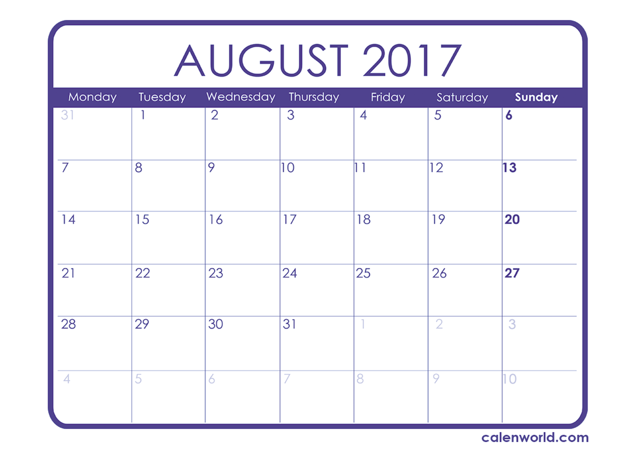 August 2017 Calendar With Holidays Uk | weekly calendar template