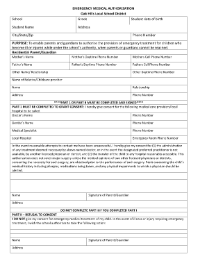 Good Emergency Medical Authorization Form Fill Online, Printable Blank Medical  Form Intended For Blank Medical Forms