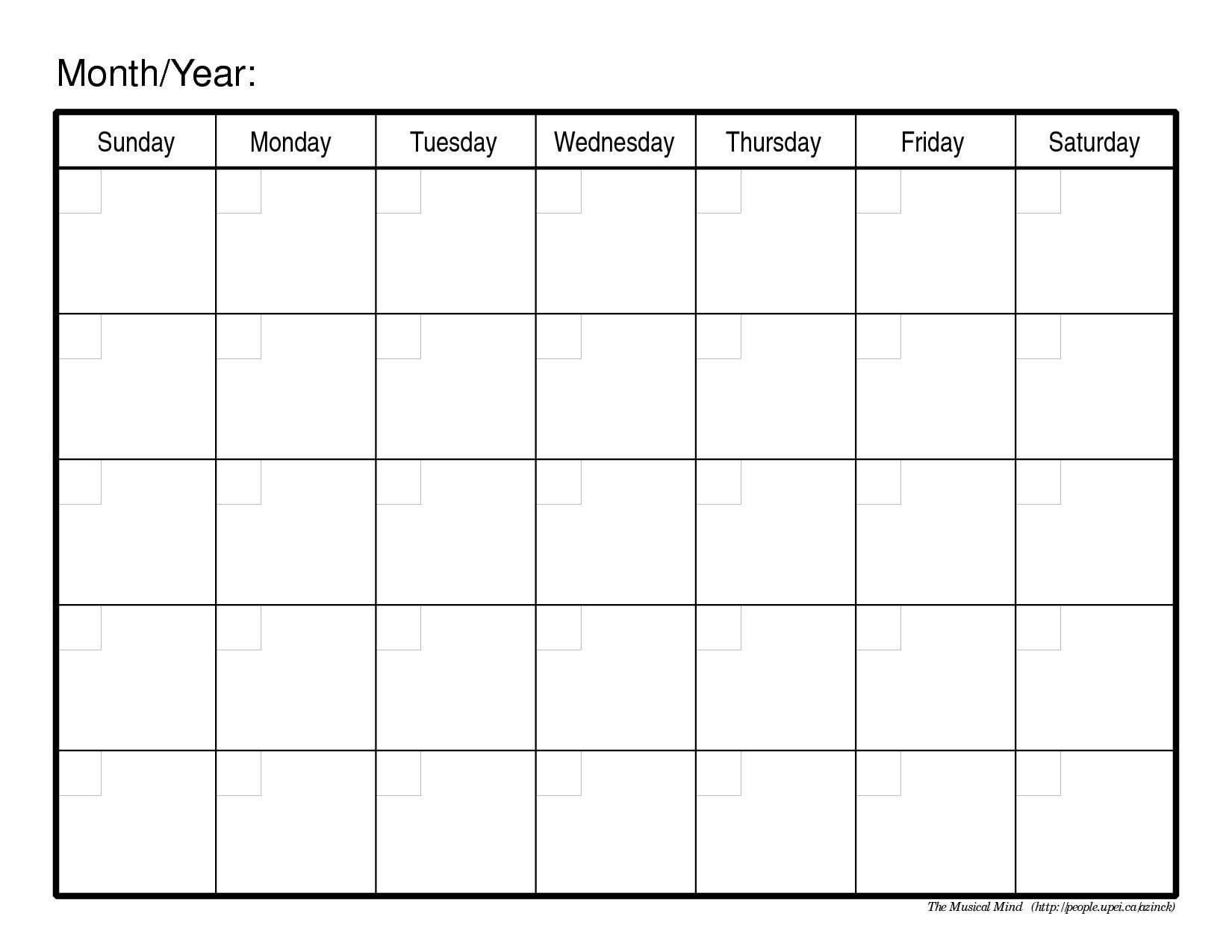 Blank Month Calendar Template | printable calendar templates