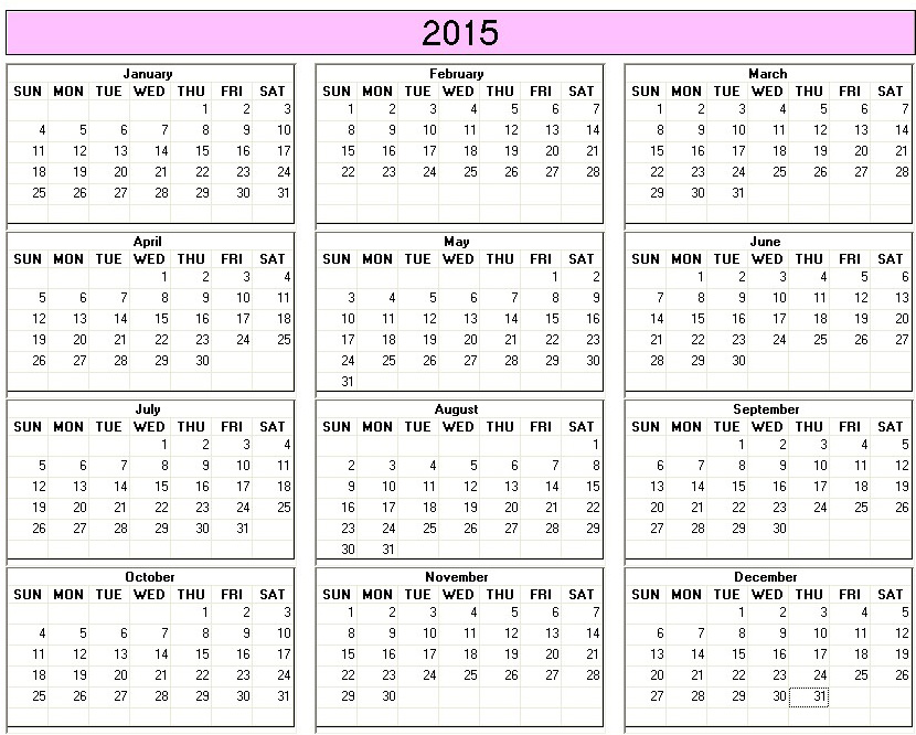 Download Printable Calendar 2015 Muckeenidesign