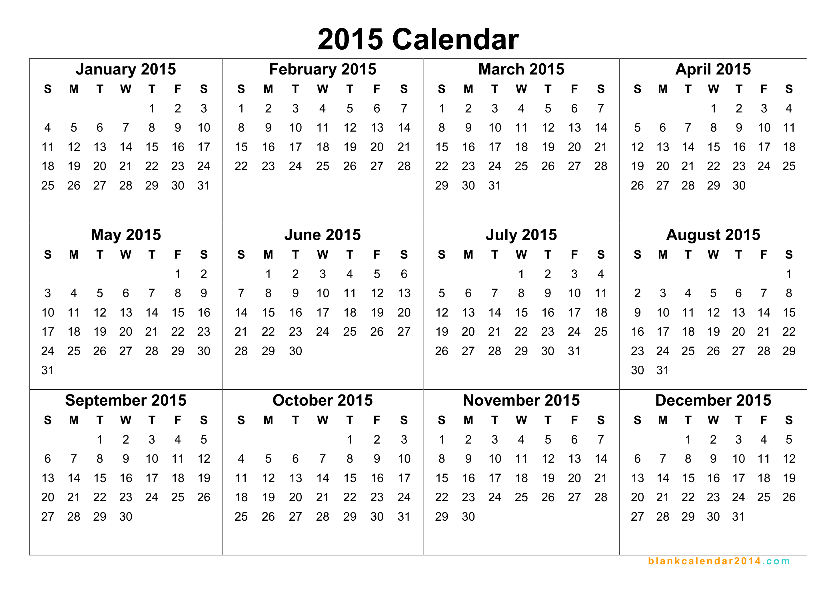 Blank yearly calendar 2015 templates free printable for 2015 yearly calendar template in landscape format