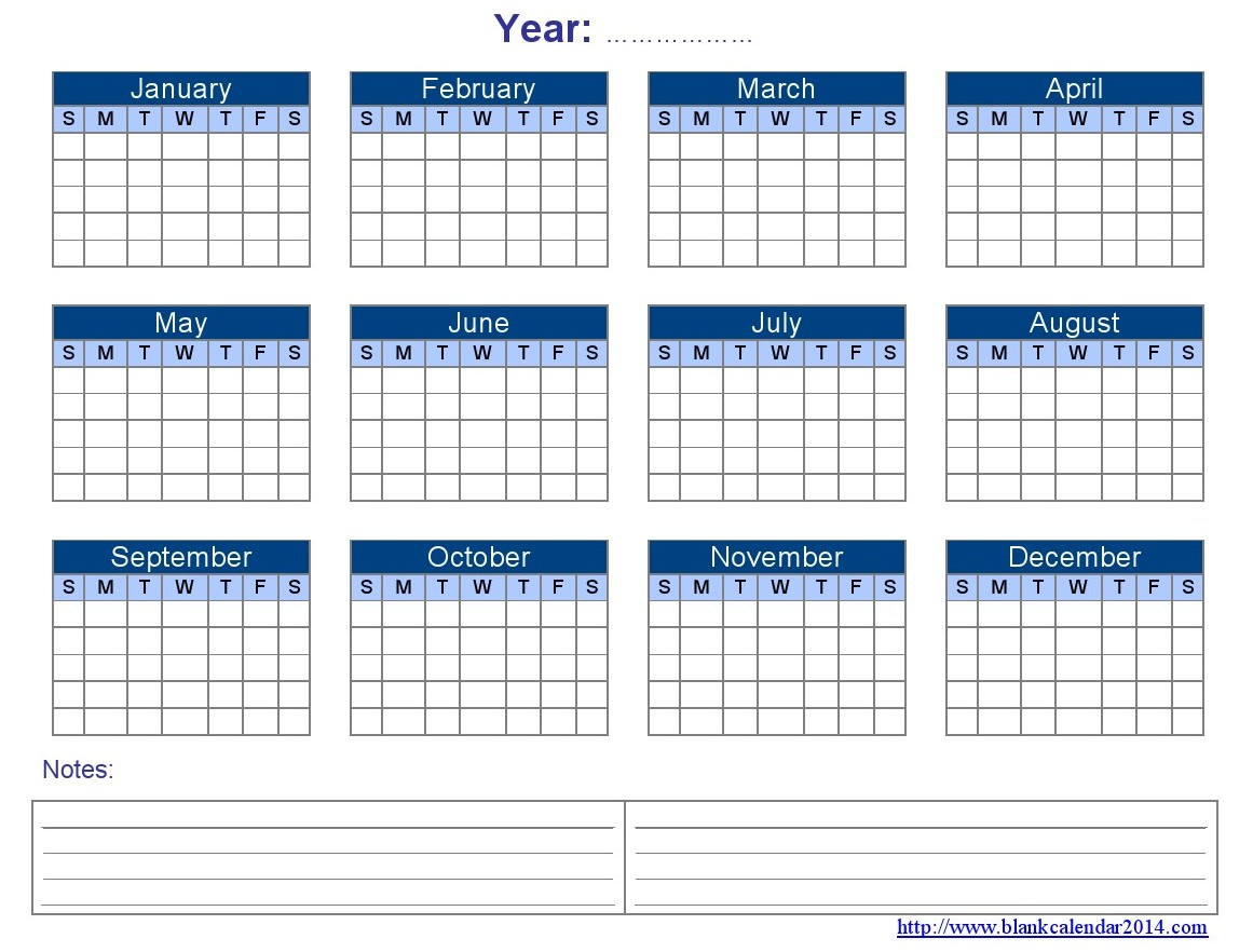 Blank Yearly Calendar Template Excel | printable calendar templates