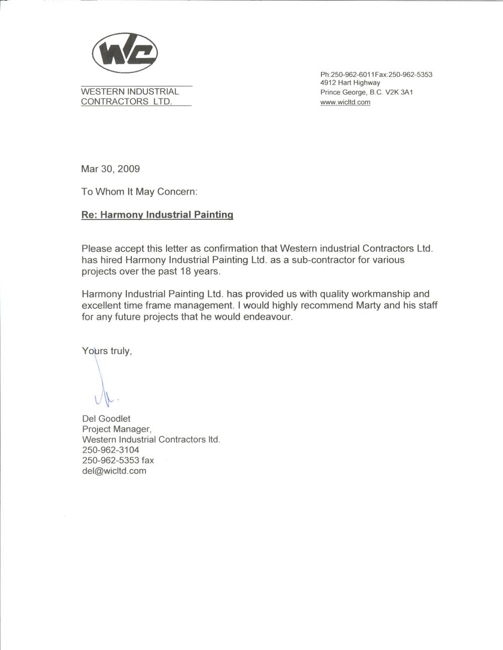 Contractor Recommendation Letter Perfect Christmas Throughout