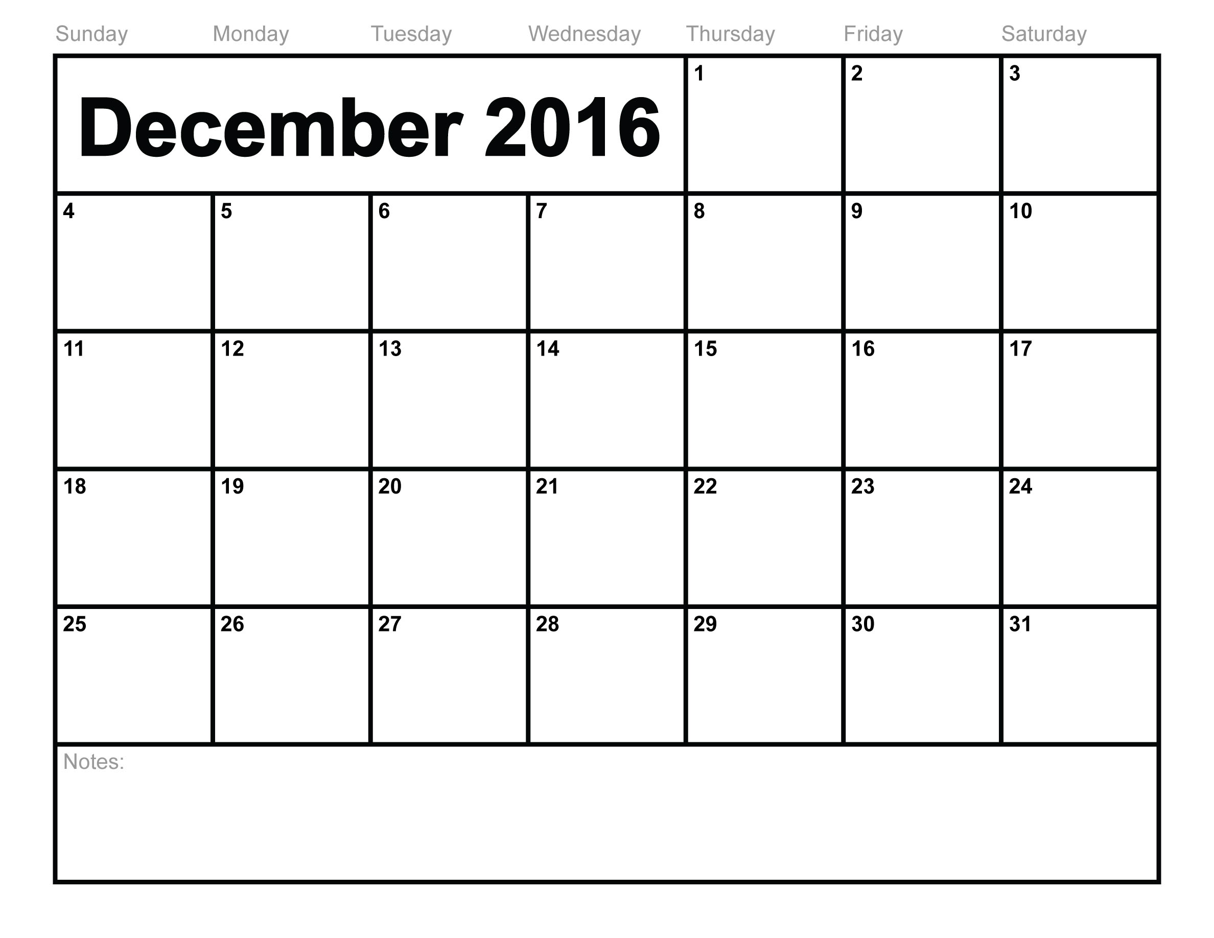 December 2016 Calendar Printable With Holidays