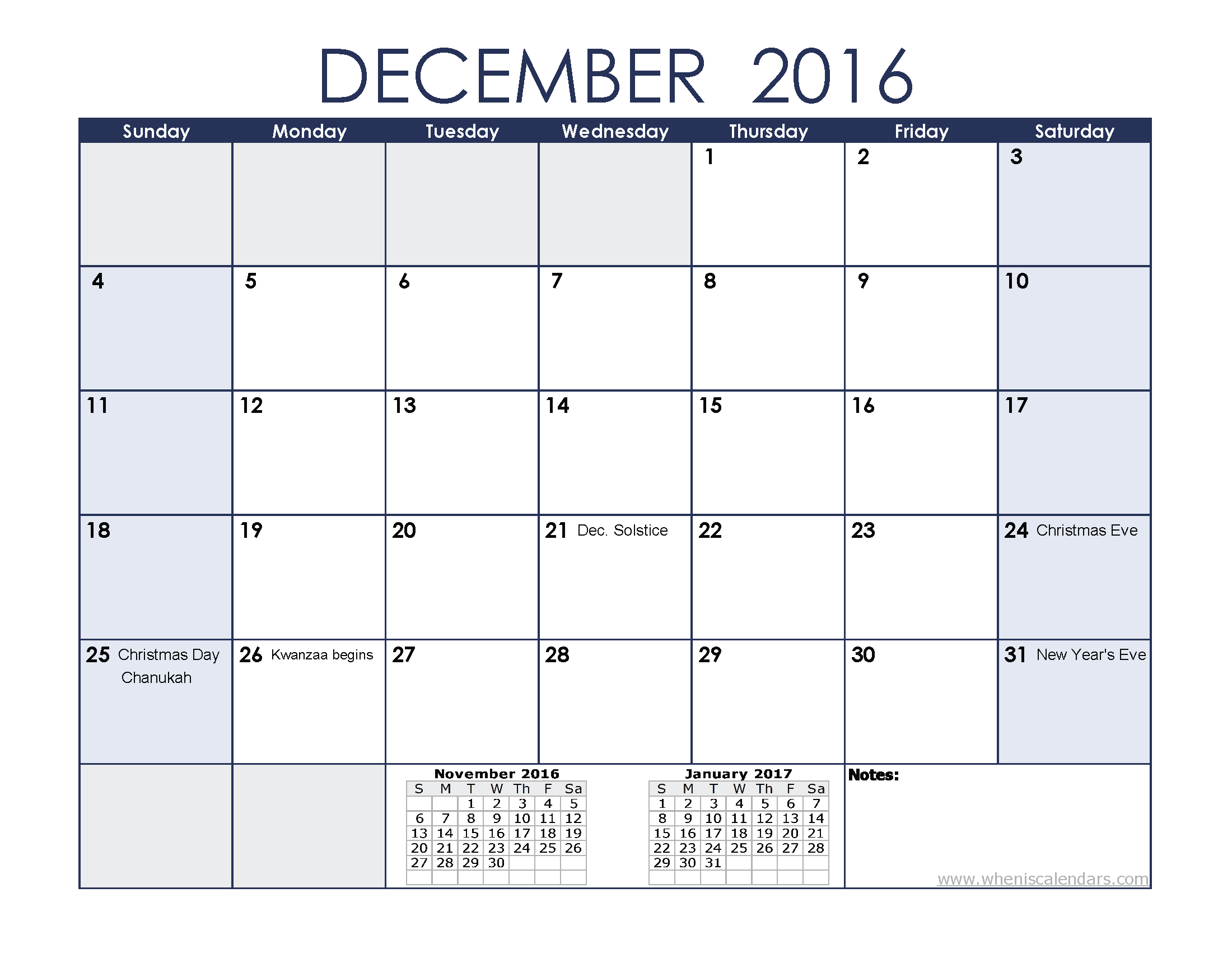December 2016 Calendar Printable With Holidays | 2017 calendar
