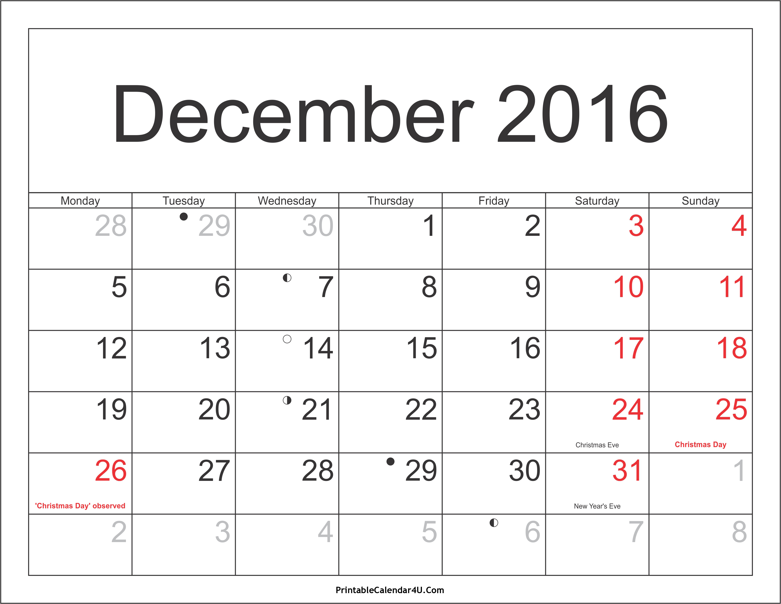 December 2016 Calendar Printable with Holidays PDF and