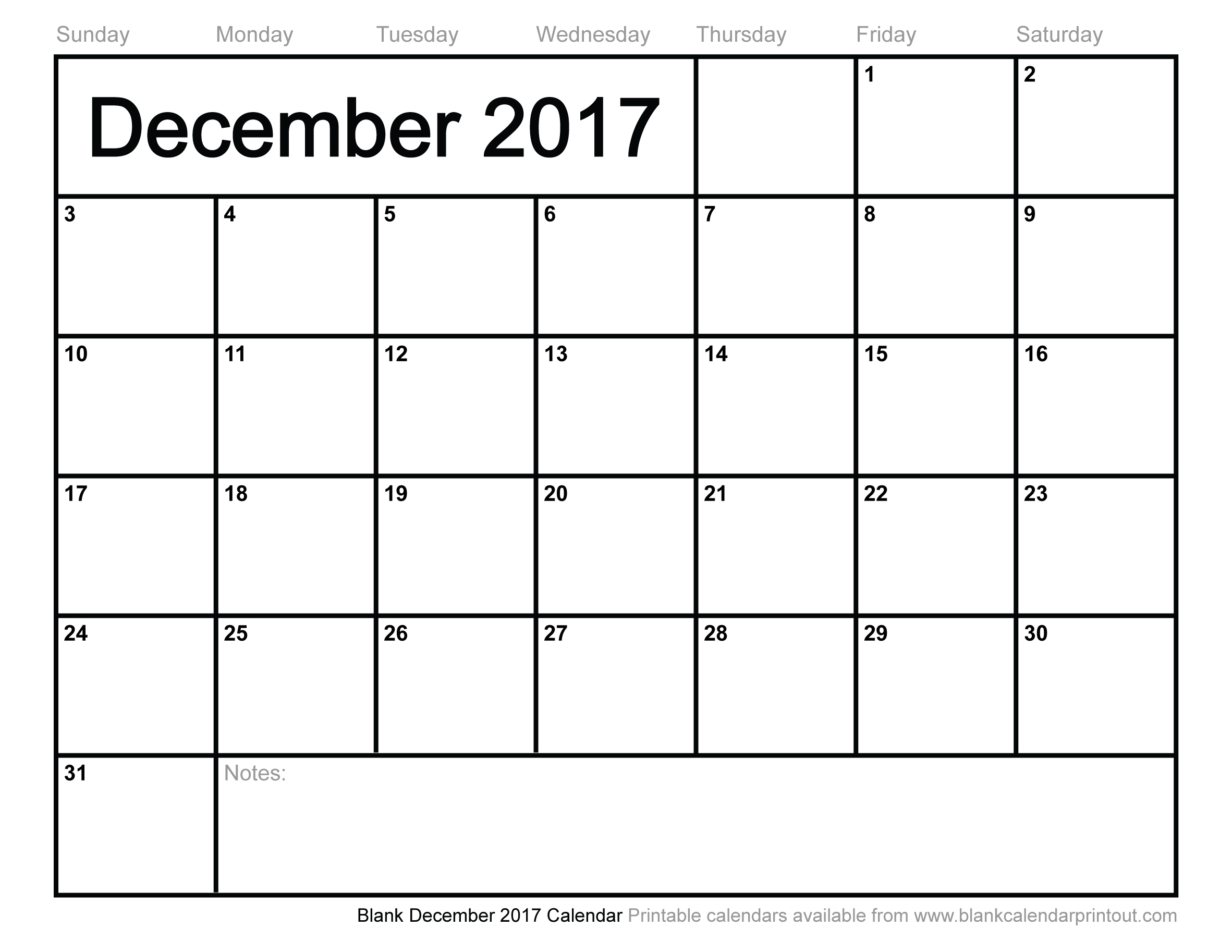 Blank December 2017 Calendar to Print