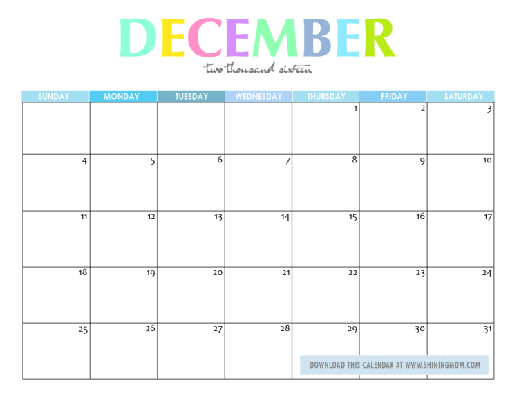 December 2016 Calendar Cute | 2017 calendar with holidays