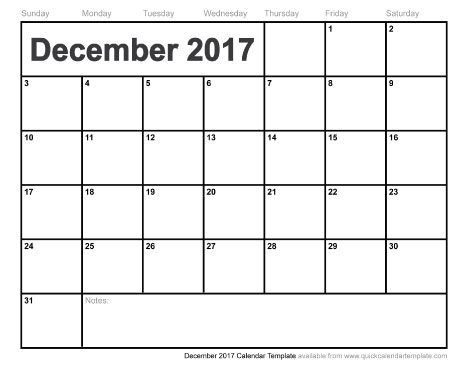December 2017 Calendar Printable | weekly calendar template