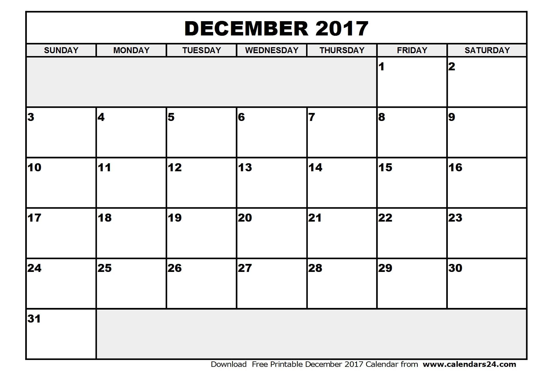 December 2017 Calendar & January 2017 Calendar