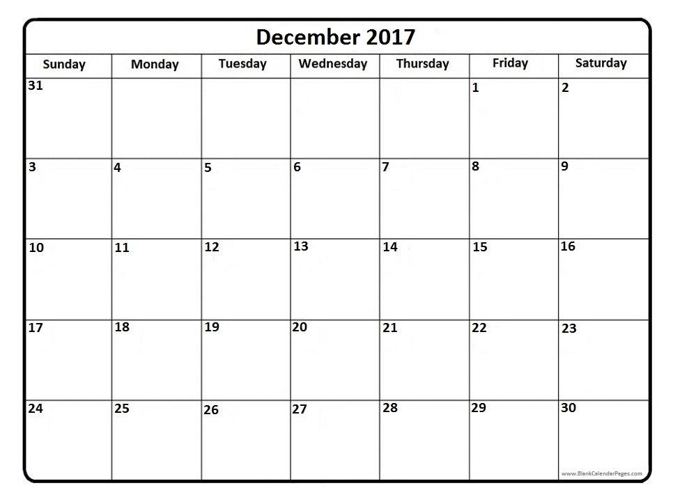 December 2017 Calendar | weekly calendar template