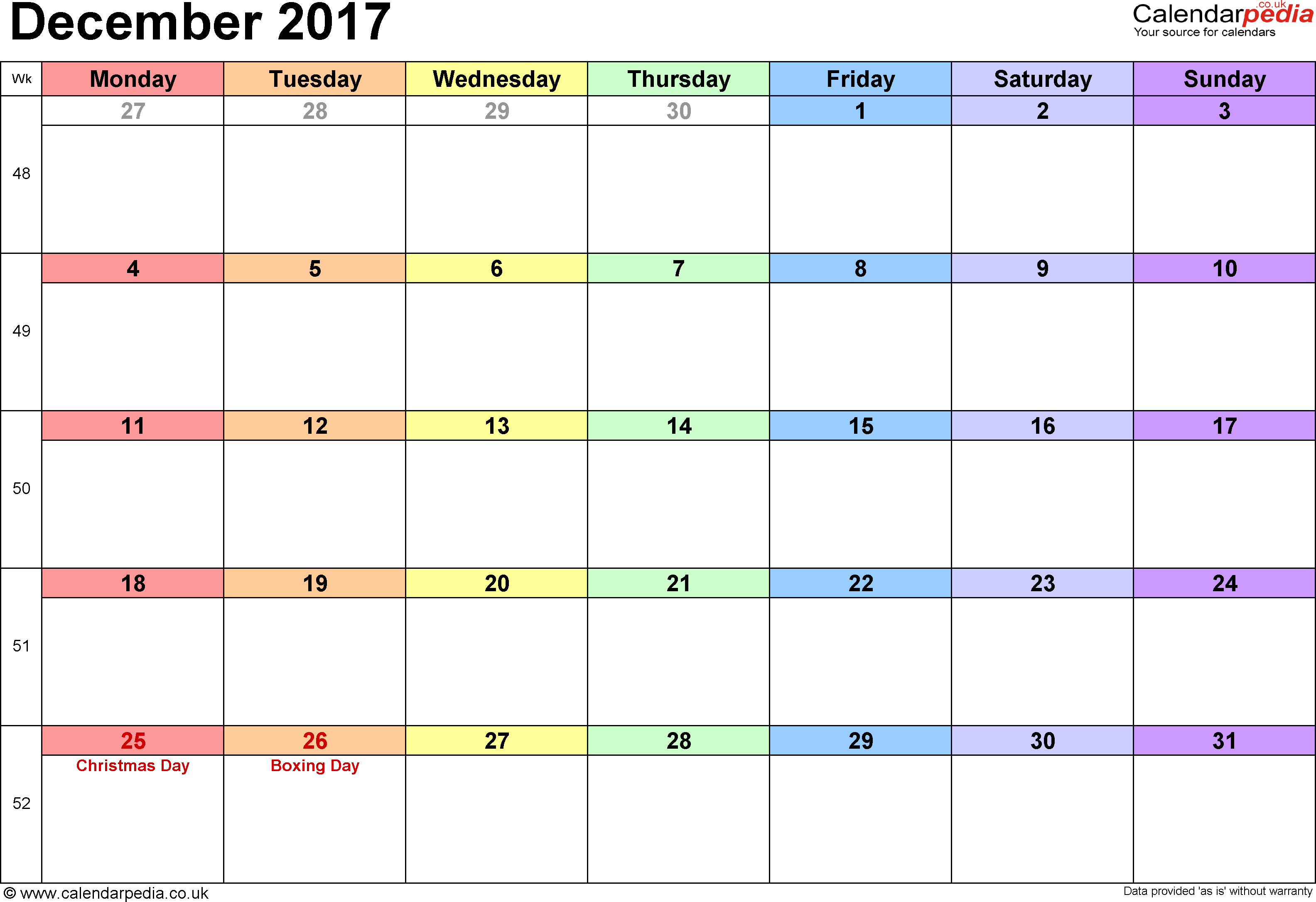 Calendar December 2017 UK, Bank Holidays, Excel/PDF/Word Templates