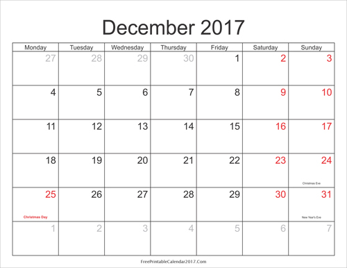 2017 Calendar Printable With Holidays Yearly Calendar Printable