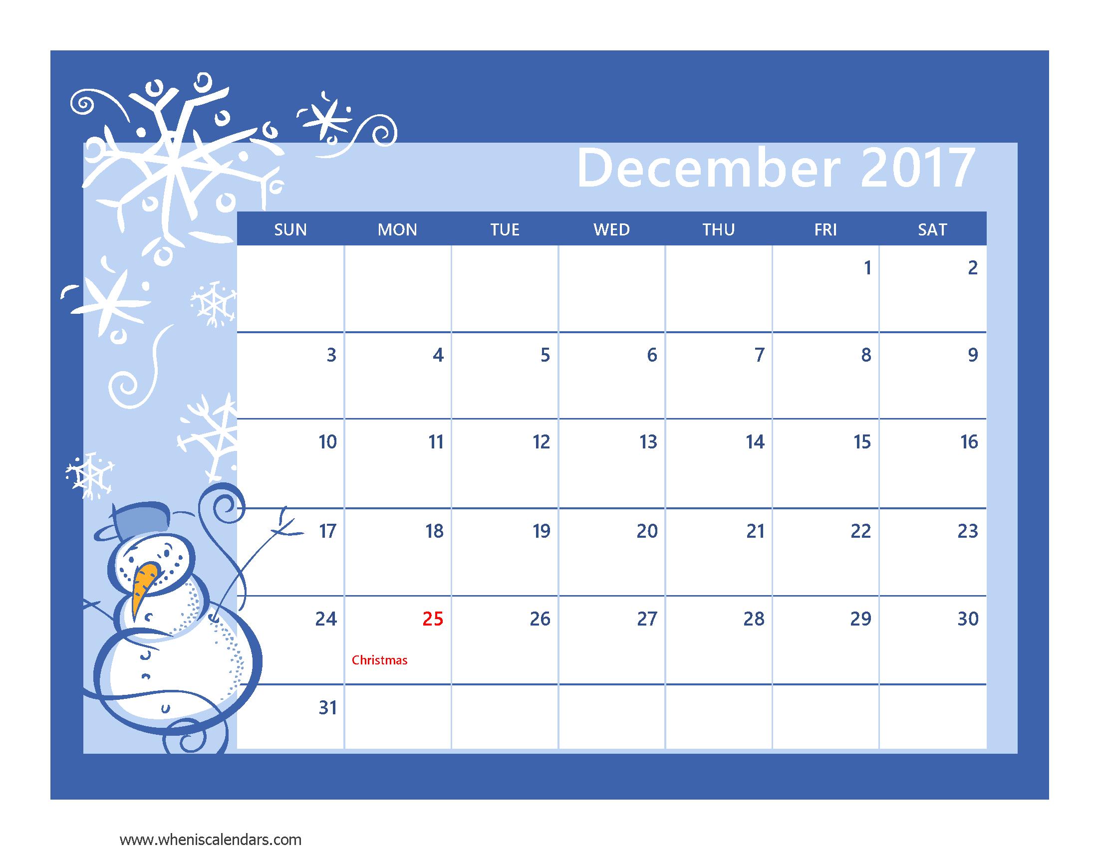 2017 Calendar Printable With Holidays December 2017 Calendar