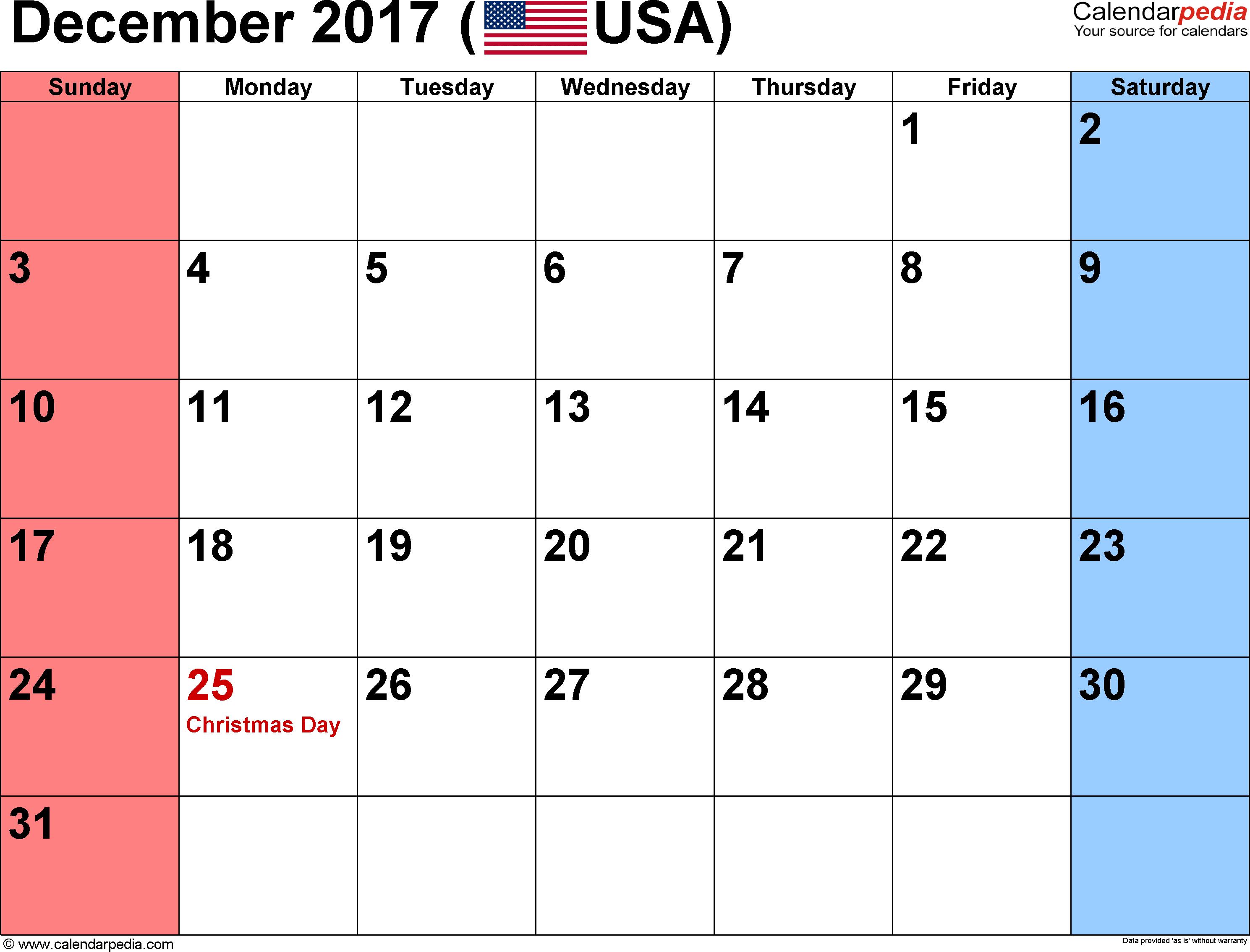 December 2017 Calendars for Word, Excel & PDF