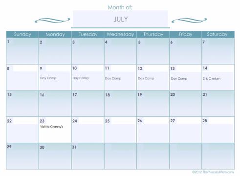 Monthly Calendar (editable) The Peaceful Mom