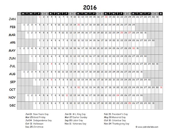 2016 calendar blank