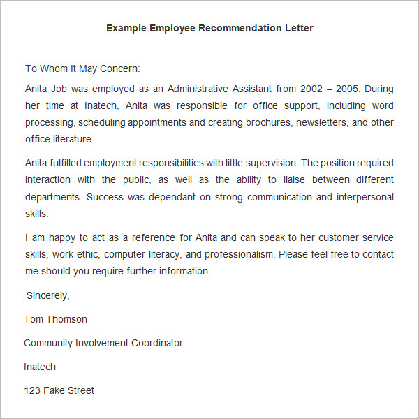1000+ ideas about Employee Recommendation Letter on Pinterest