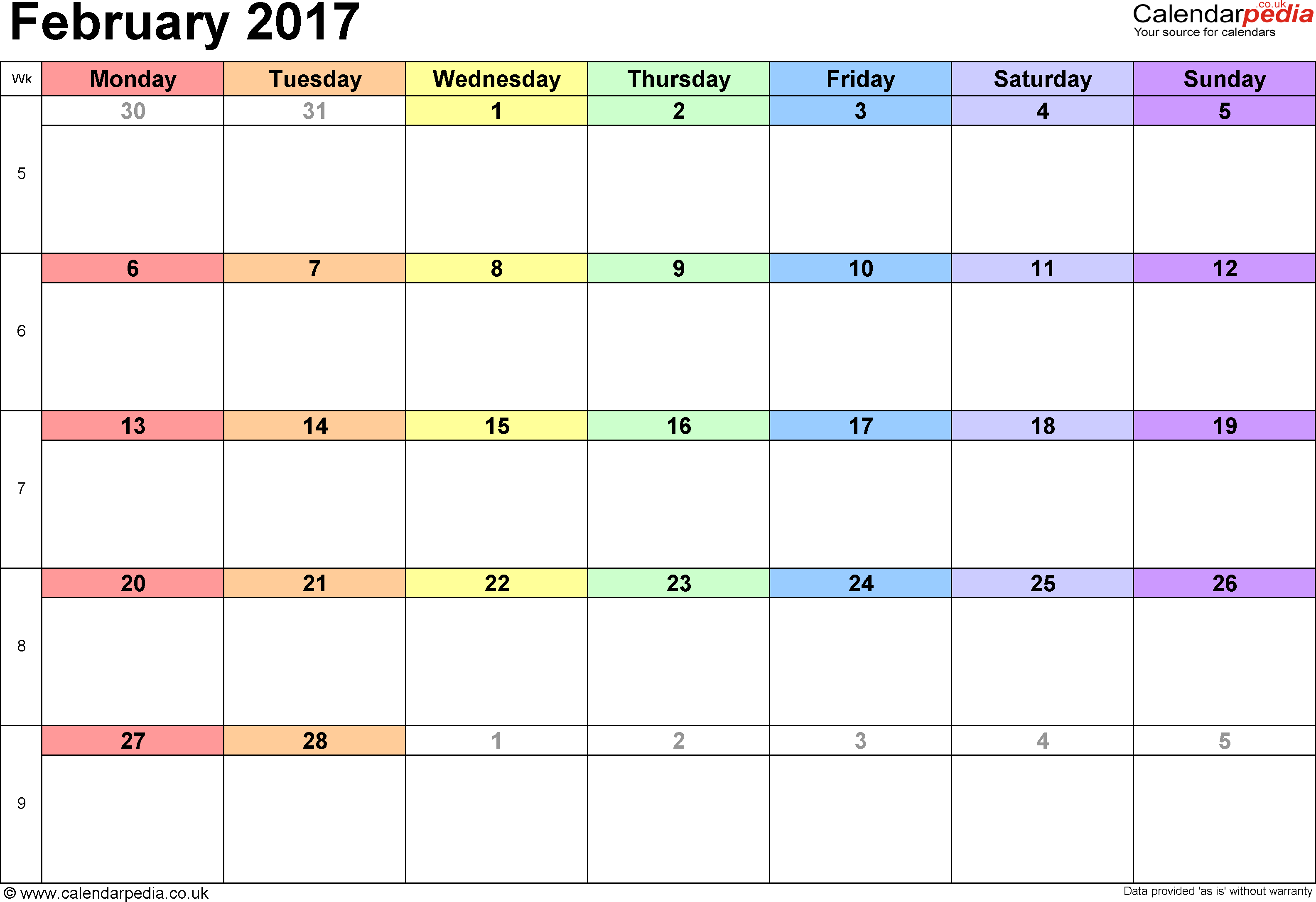February 2017 Calendars for Word, Excel & PDF