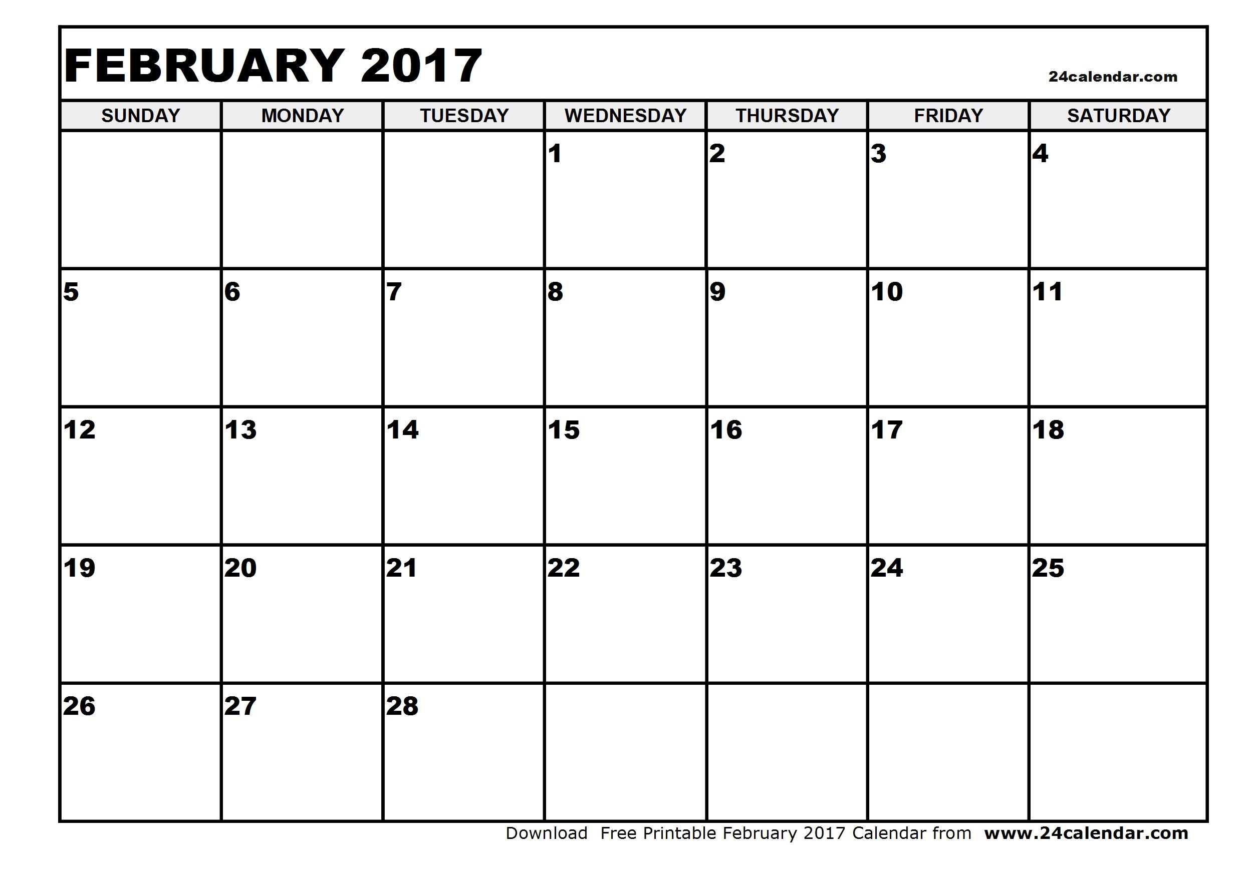 February 2017 Calendar Excel Template