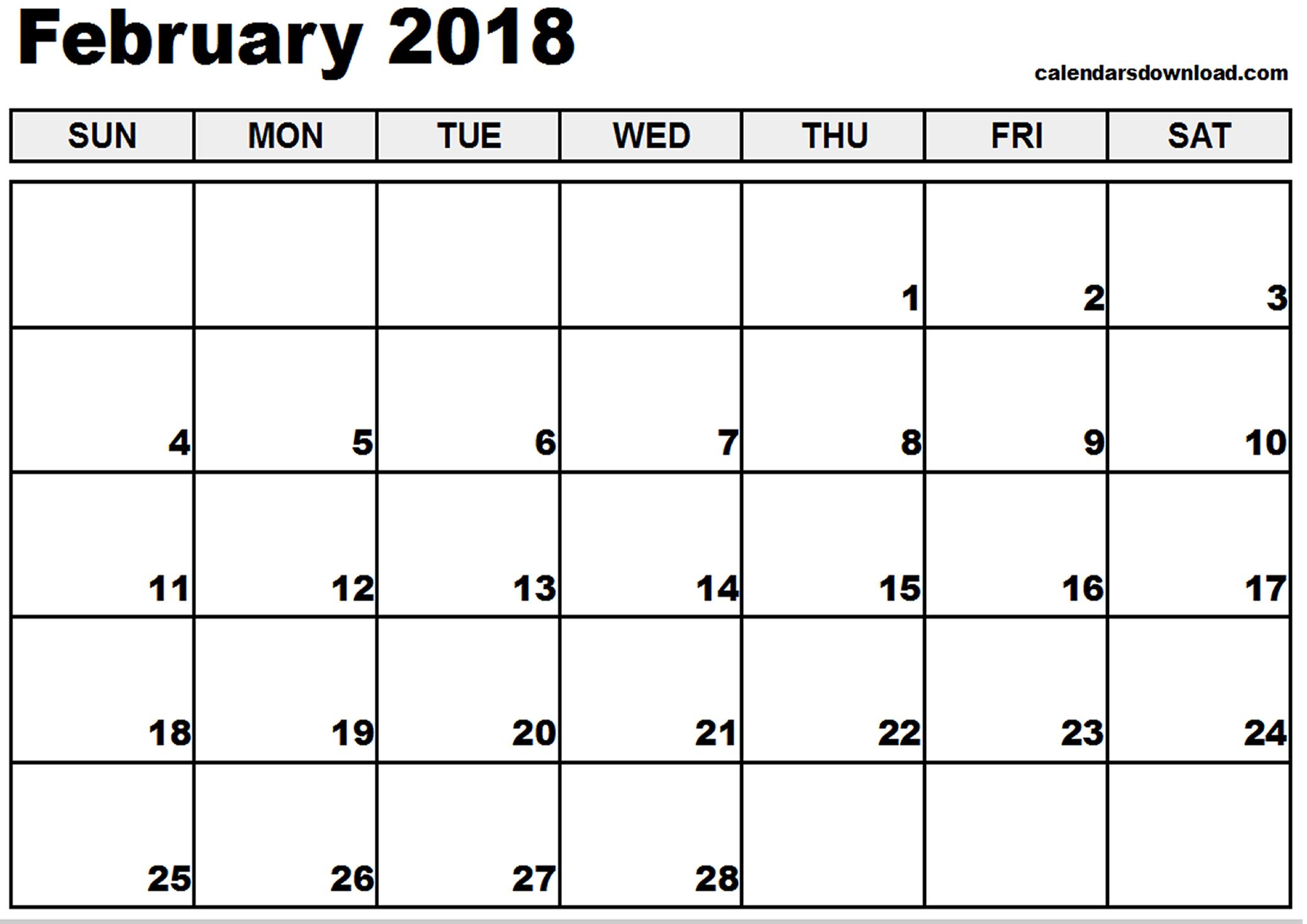 February 2018 Calendar | yearly calendar printable