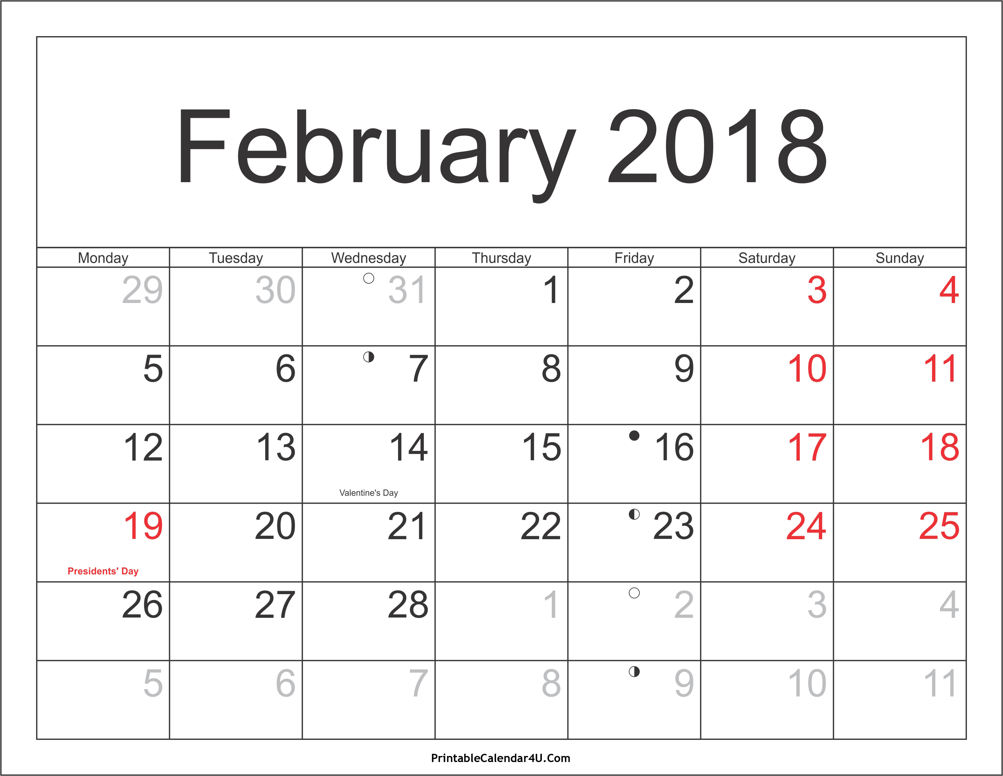 February 2018 Calendar Template