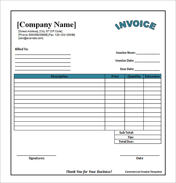 Invoice Template Excel Download Free | Best Business Template