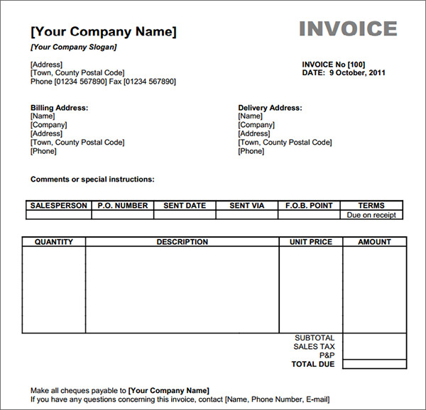 Download Free Excel Invoice Templates