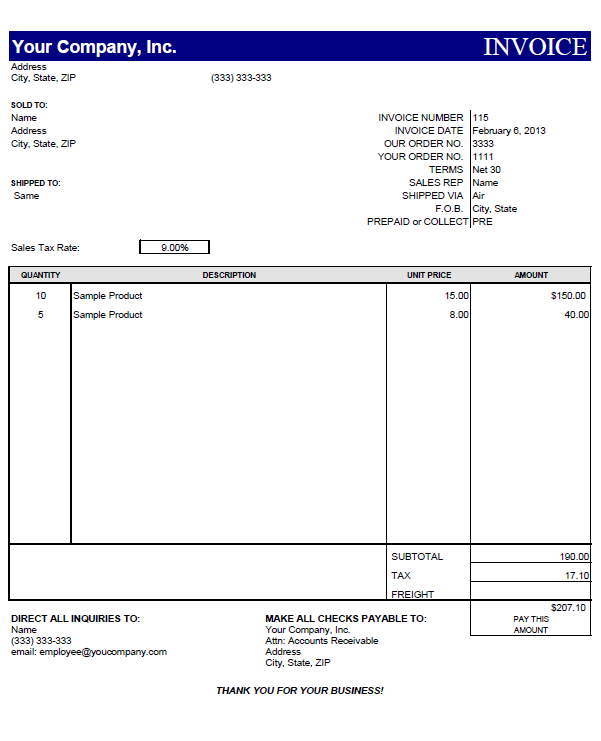 Invoice Template Excel Download Free – templates free printable