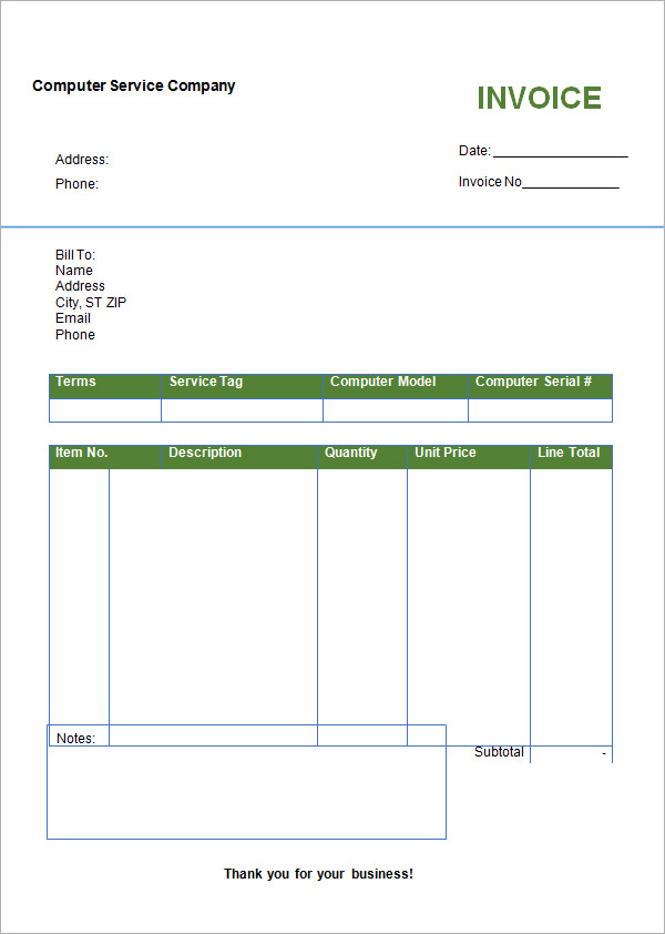 Work Invoice Template Free Word ⋆ Invoice Template